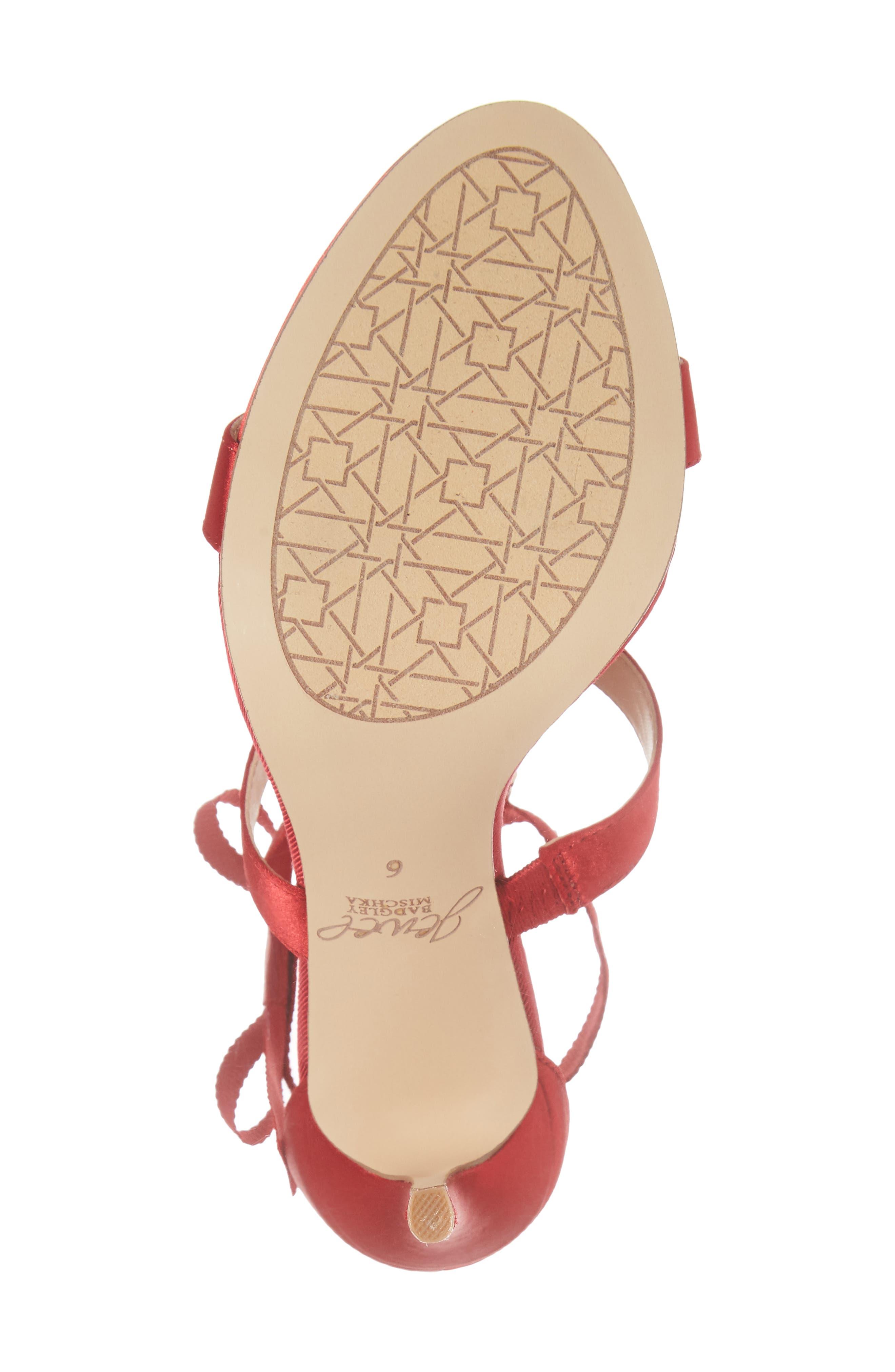 Henderson Embellished Bow Sandal,                             Alternate thumbnail 6, color,                             RED SATIN