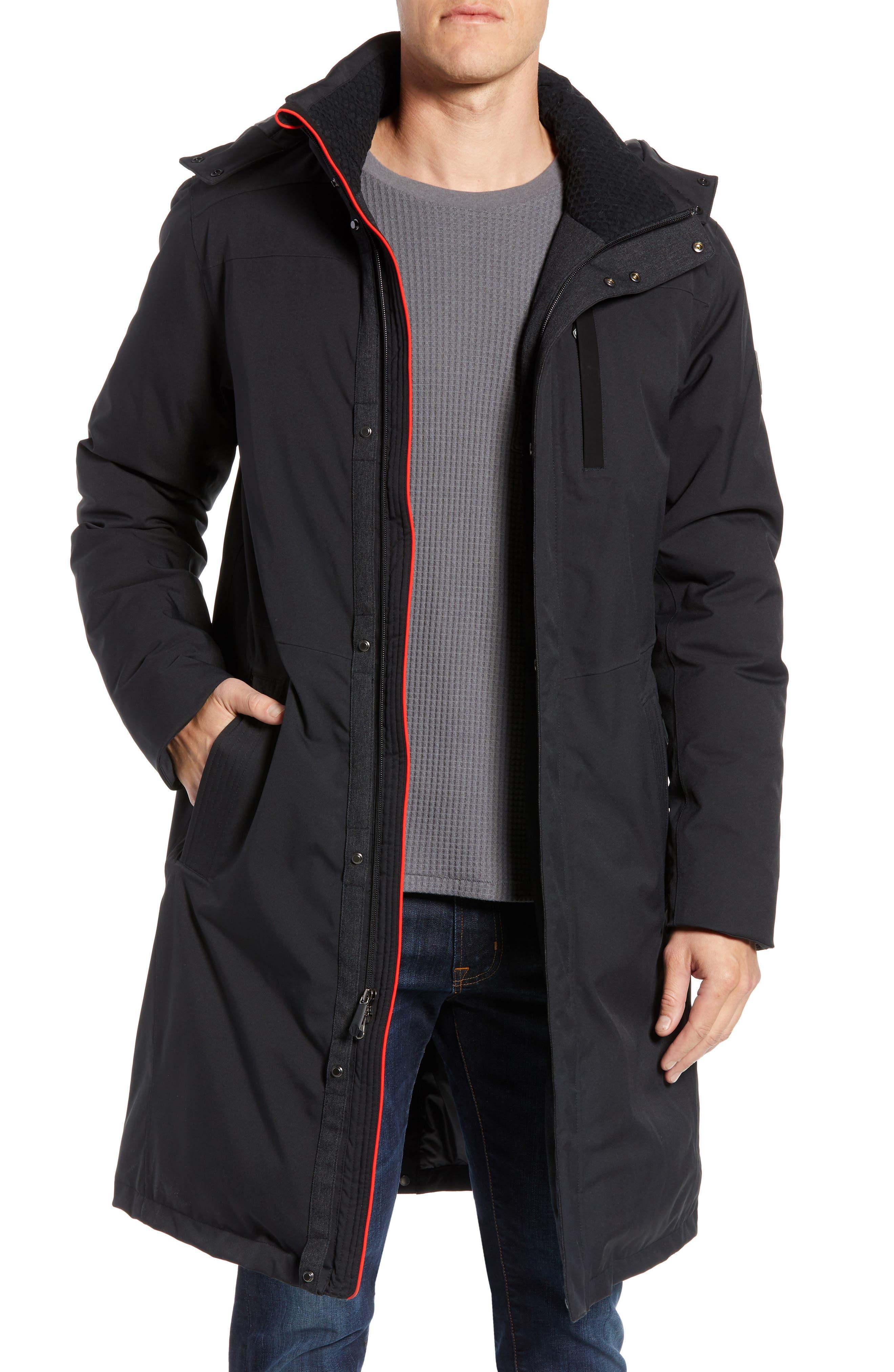 Sawyer Water Repellent Long Coat,                         Main,                         color, 001