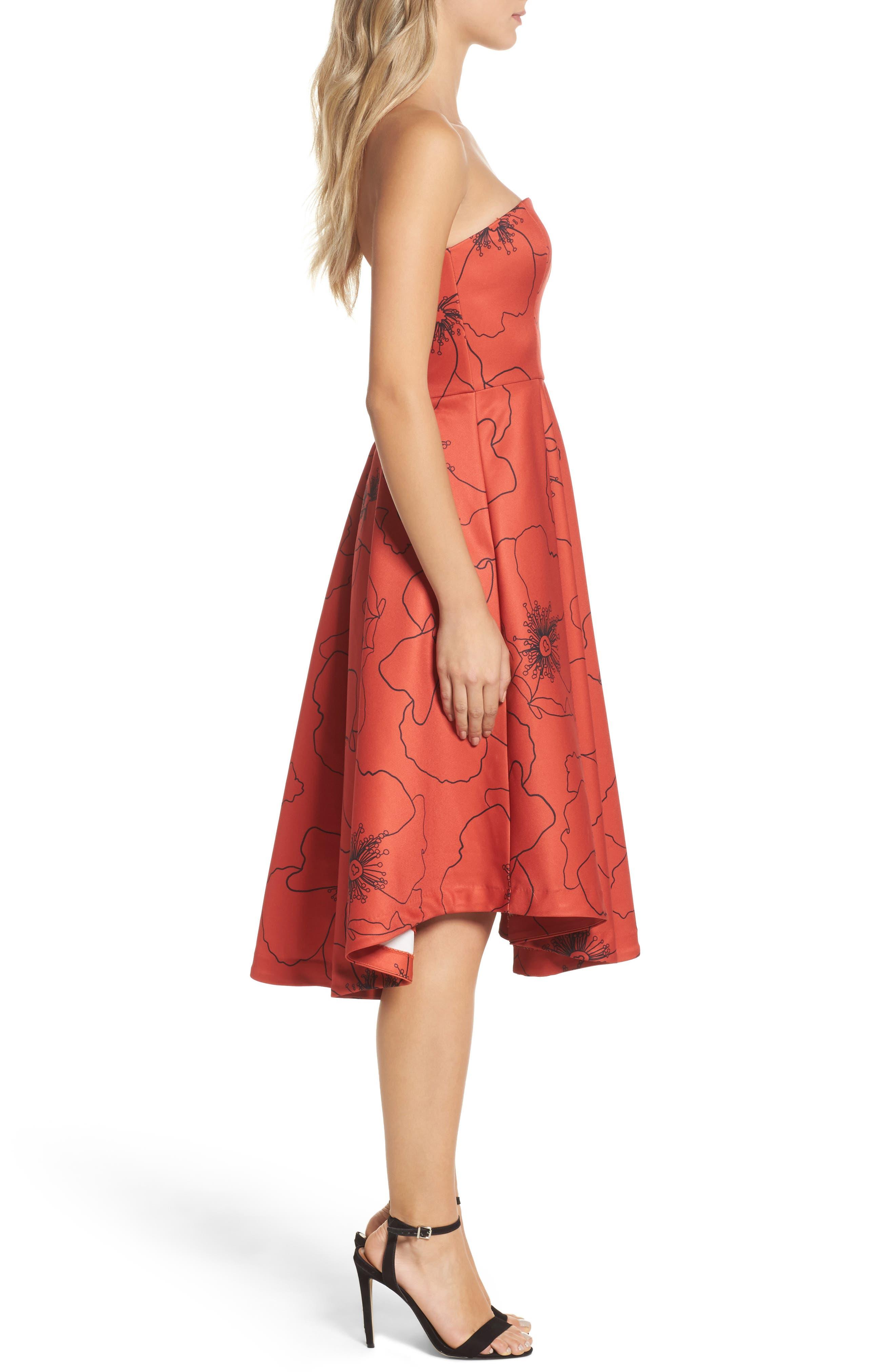 Burnt Fields Strapless Dress,                             Alternate thumbnail 3, color,                             606