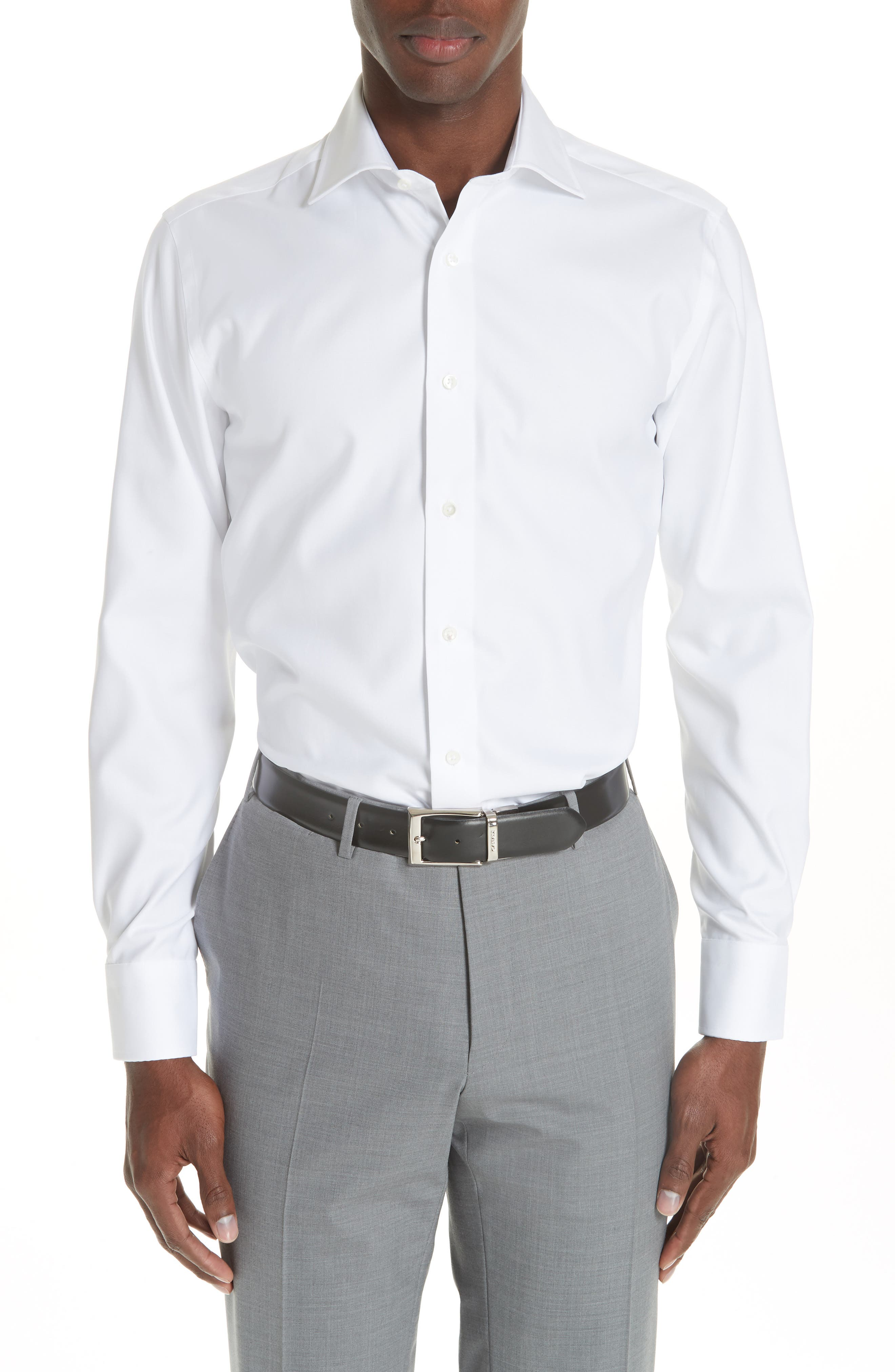 Regular Fit Solid Dress Shirt,                             Main thumbnail 1, color,                             WHITE