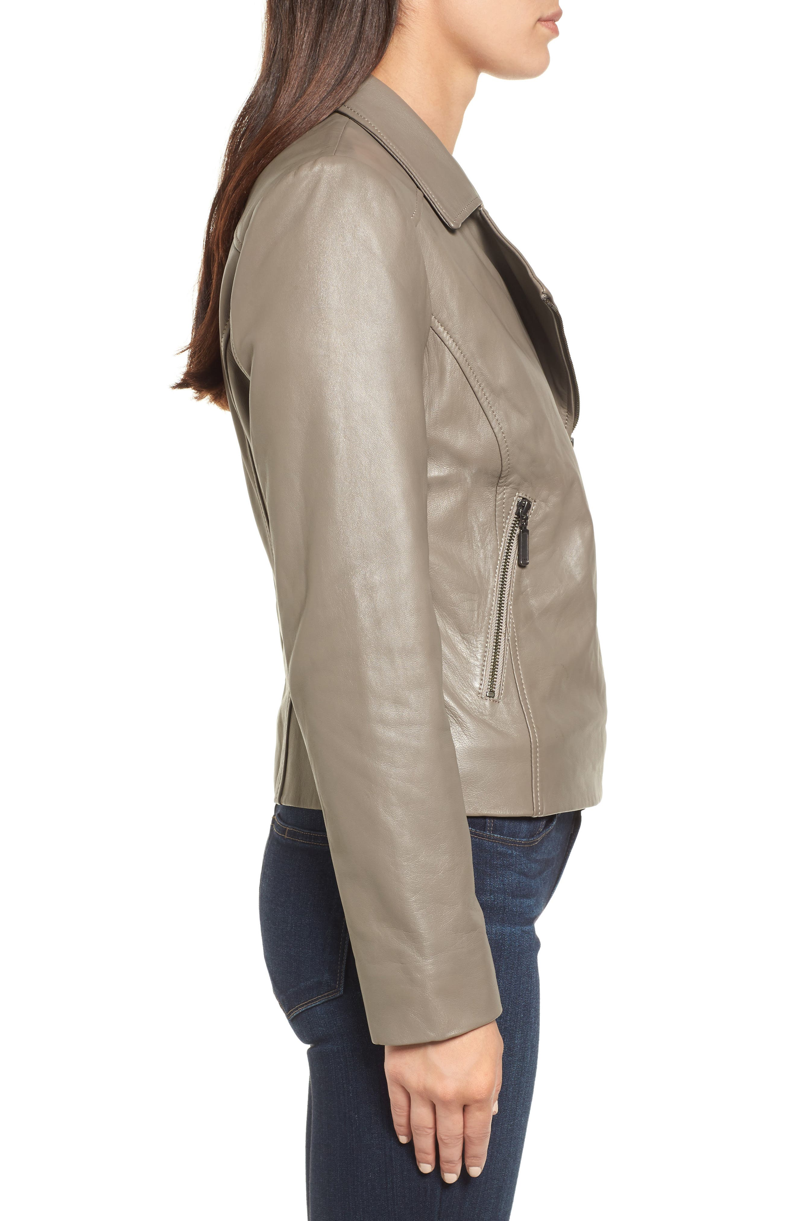Leather Moto Jacket,                             Alternate thumbnail 3, color,                             020