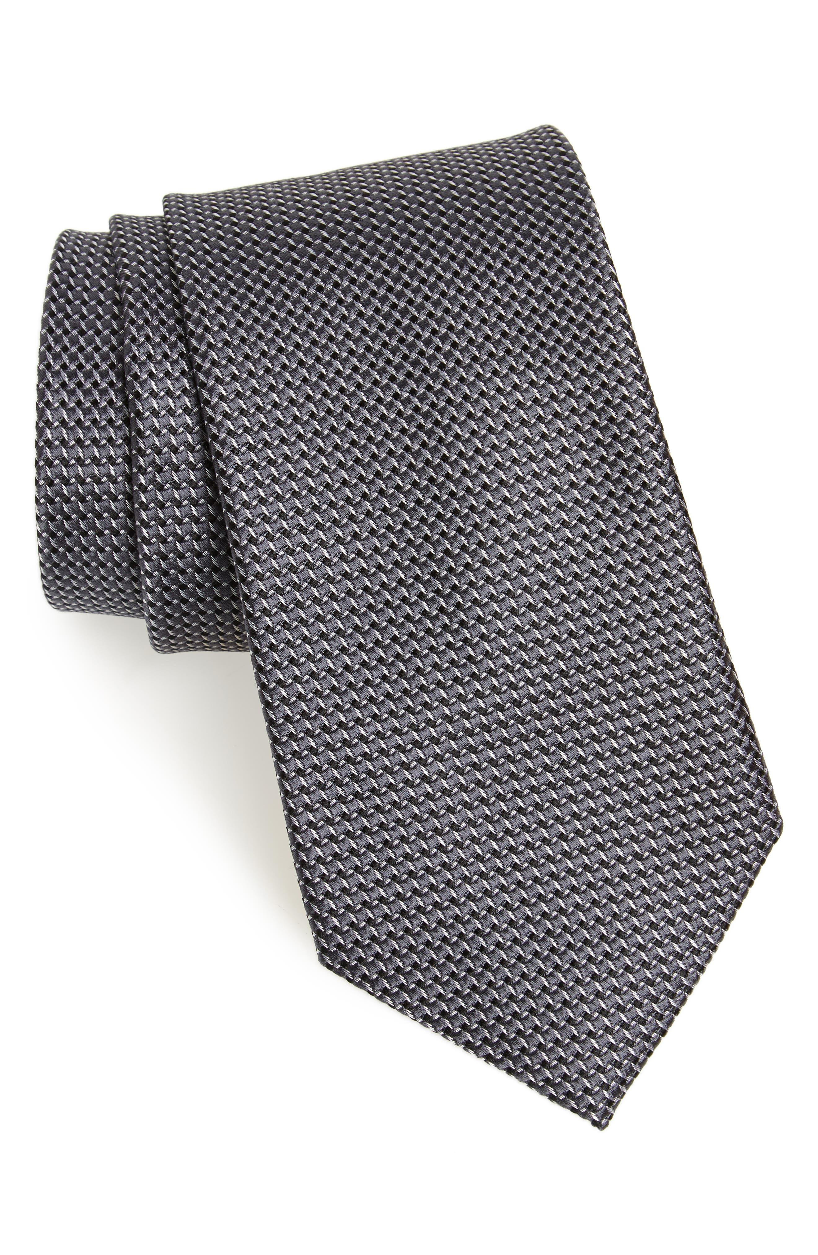 Russo Geo Print Silk Tie,                             Main thumbnail 1, color,                             BLACK