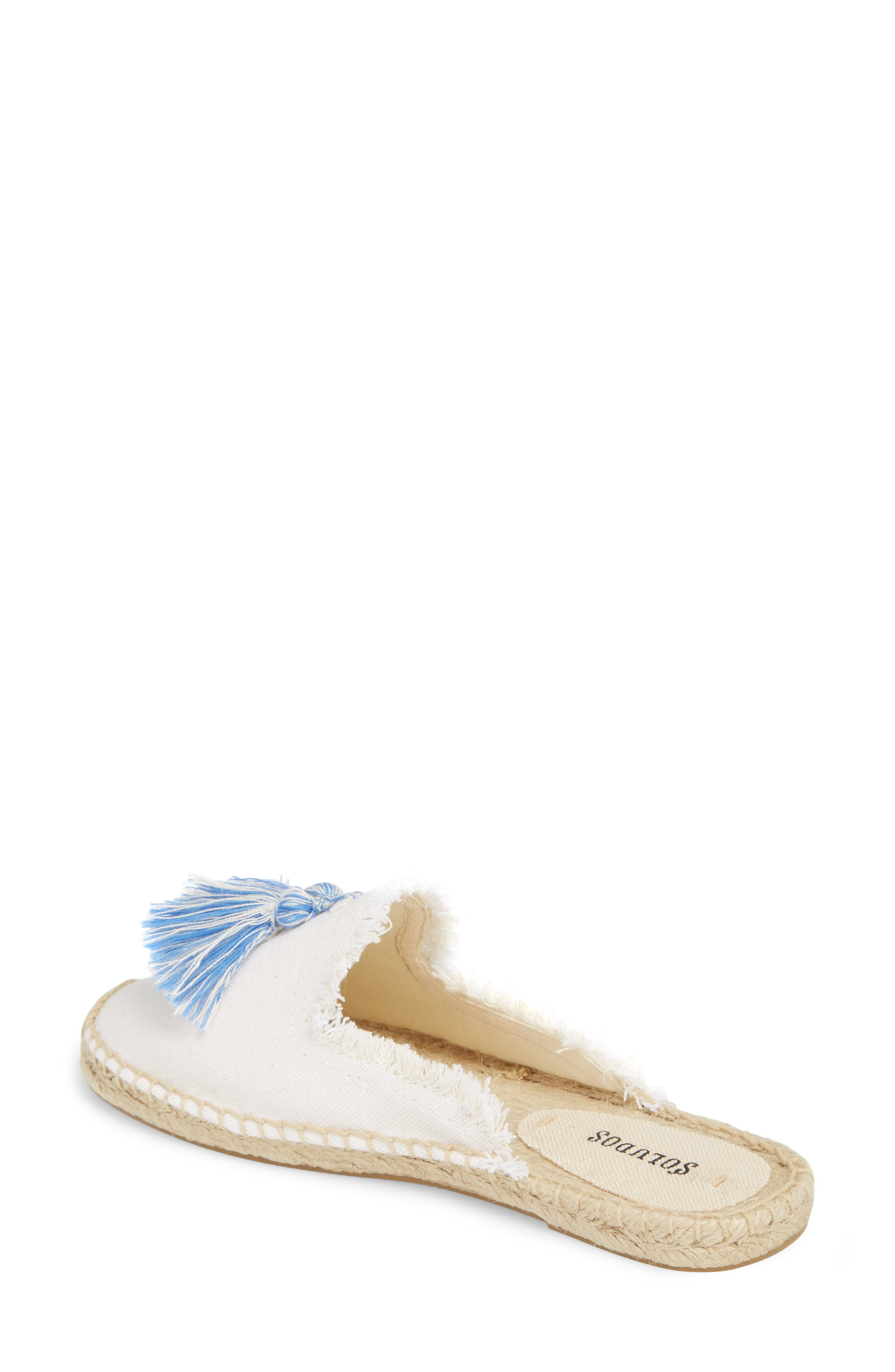 Frayed Tassel Espadrille Loafer Mule,                             Alternate thumbnail 2, color,                             WHITE