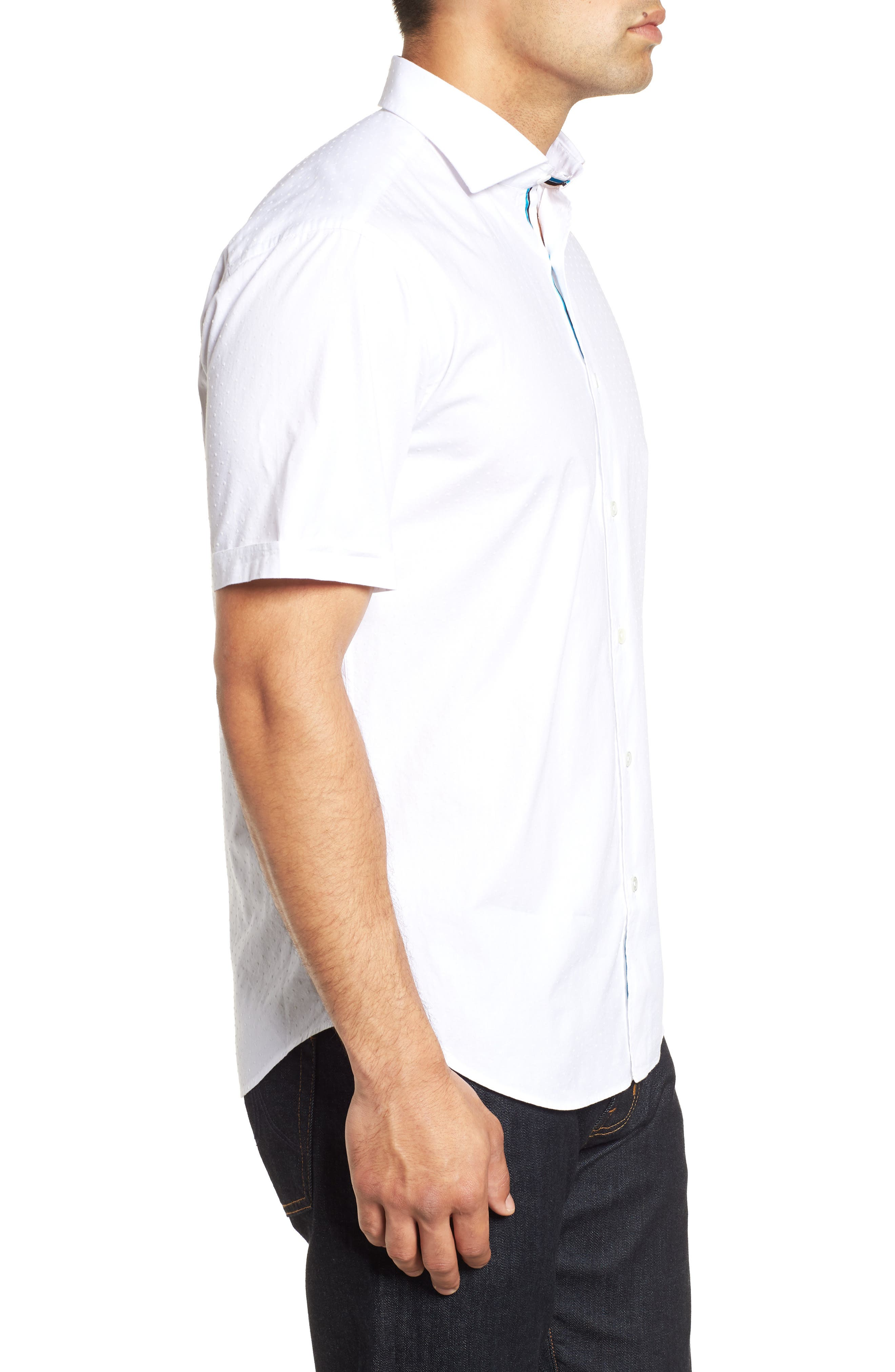 Shaped Fit Solid Sport Shirt,                             Alternate thumbnail 4, color,                             WHITE
