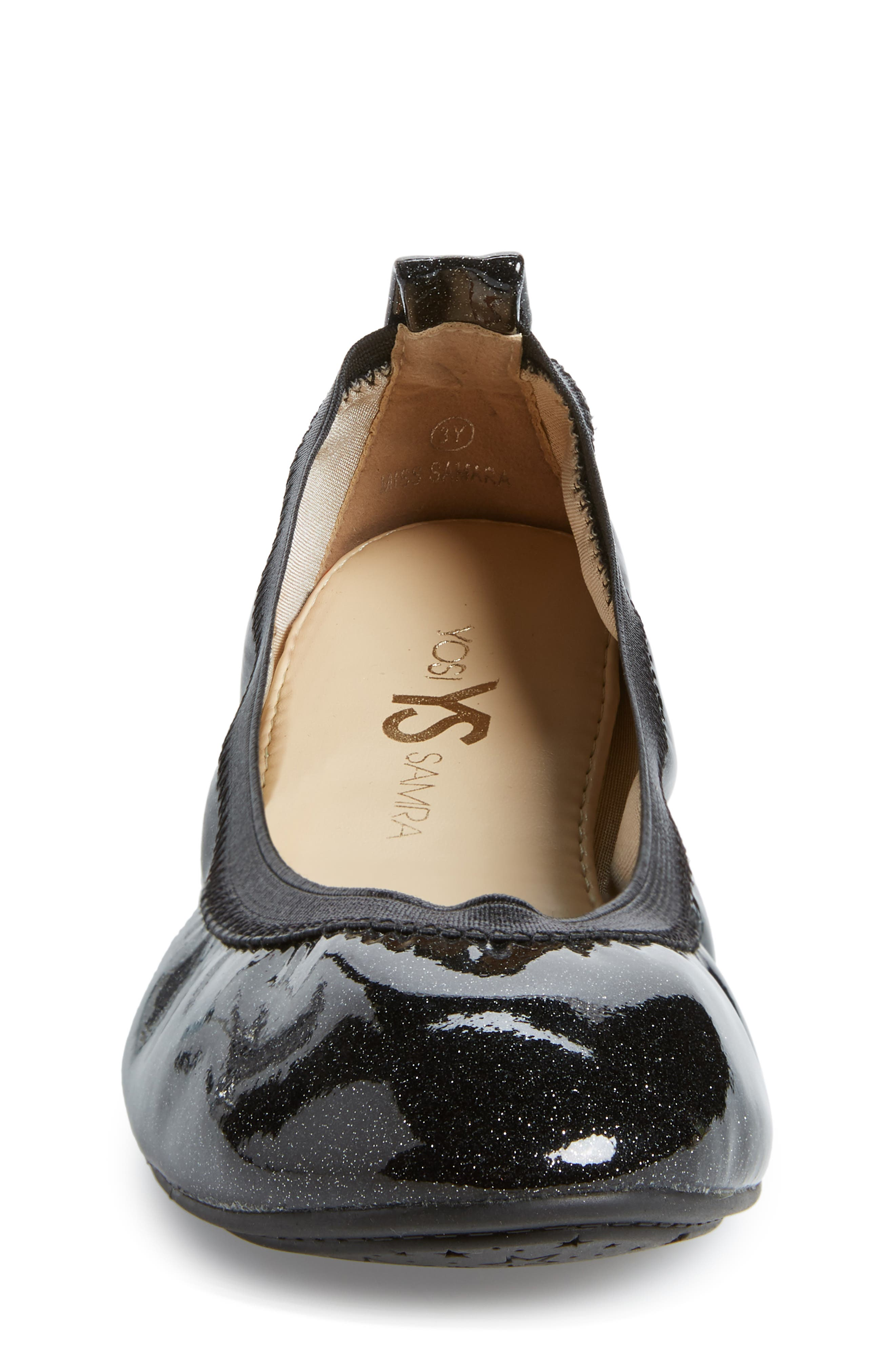 Miss Samara Ballet Flat,                             Alternate thumbnail 4, color,                             BLACK PATENT GLITTER