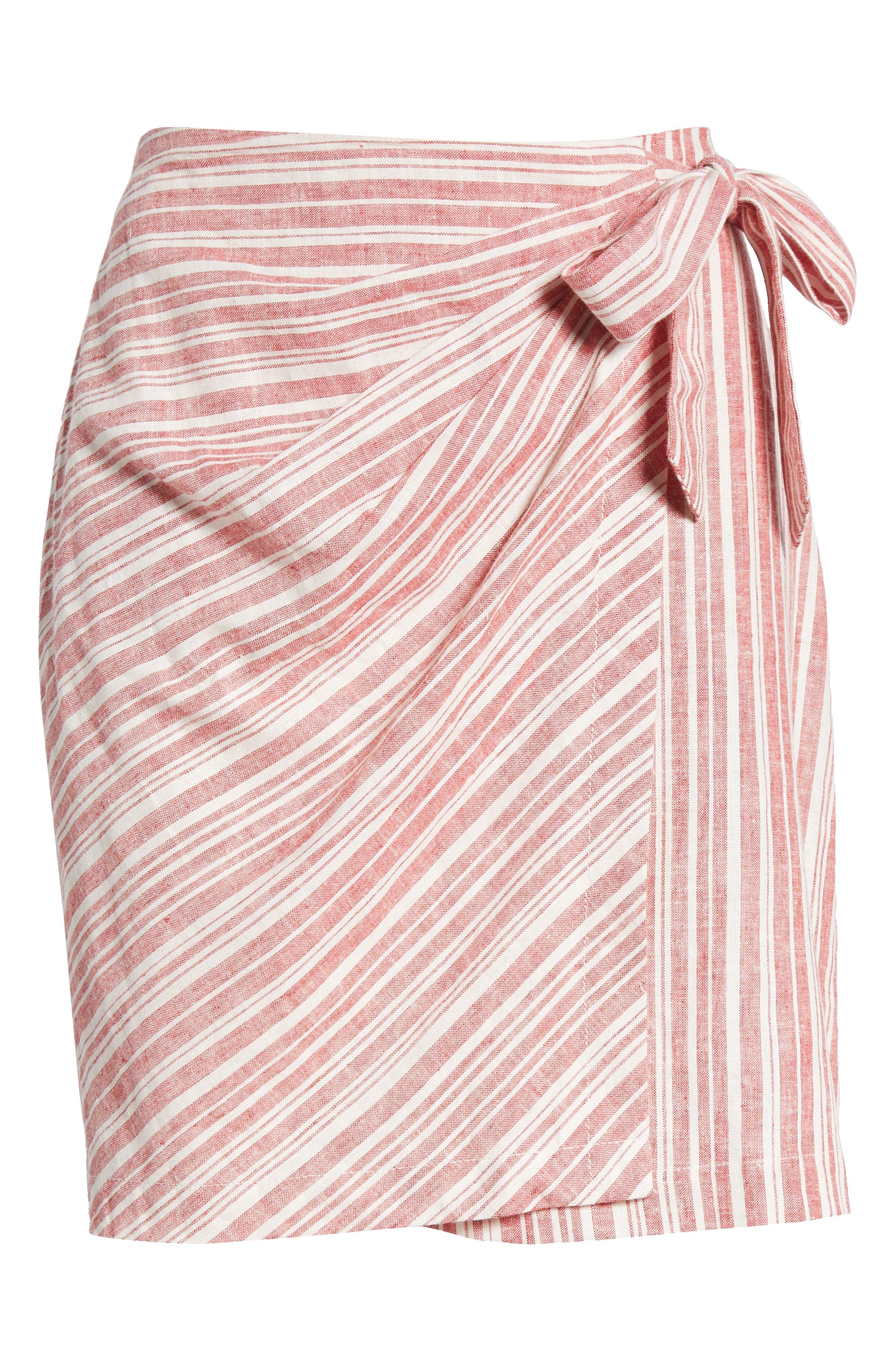 Stripe Linen Blend Wrap Skirt,                             Alternate thumbnail 6, color,                             610