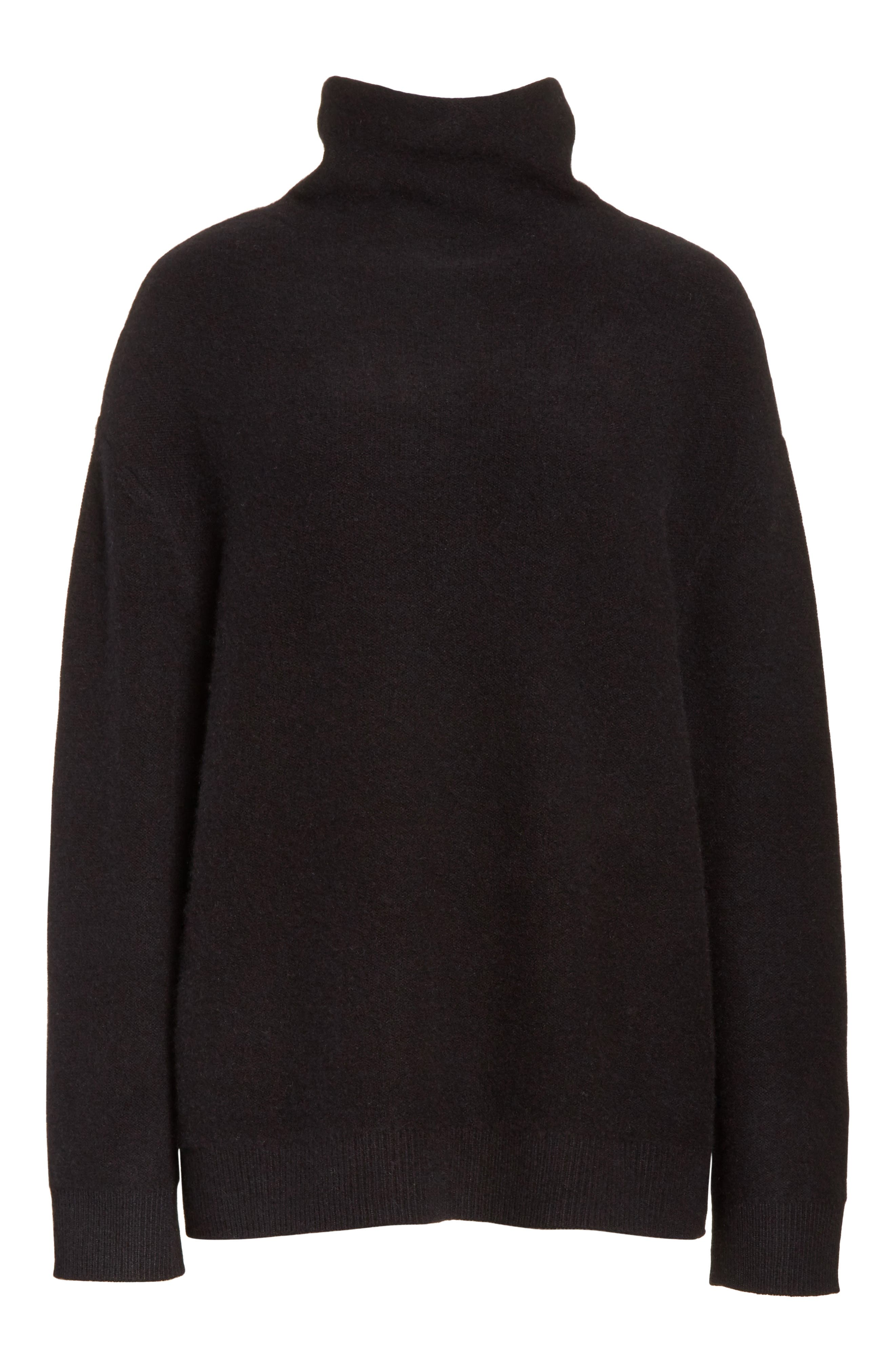 Boxy Mock Neck Cashmere Sweater,                             Alternate thumbnail 6, color,                             001