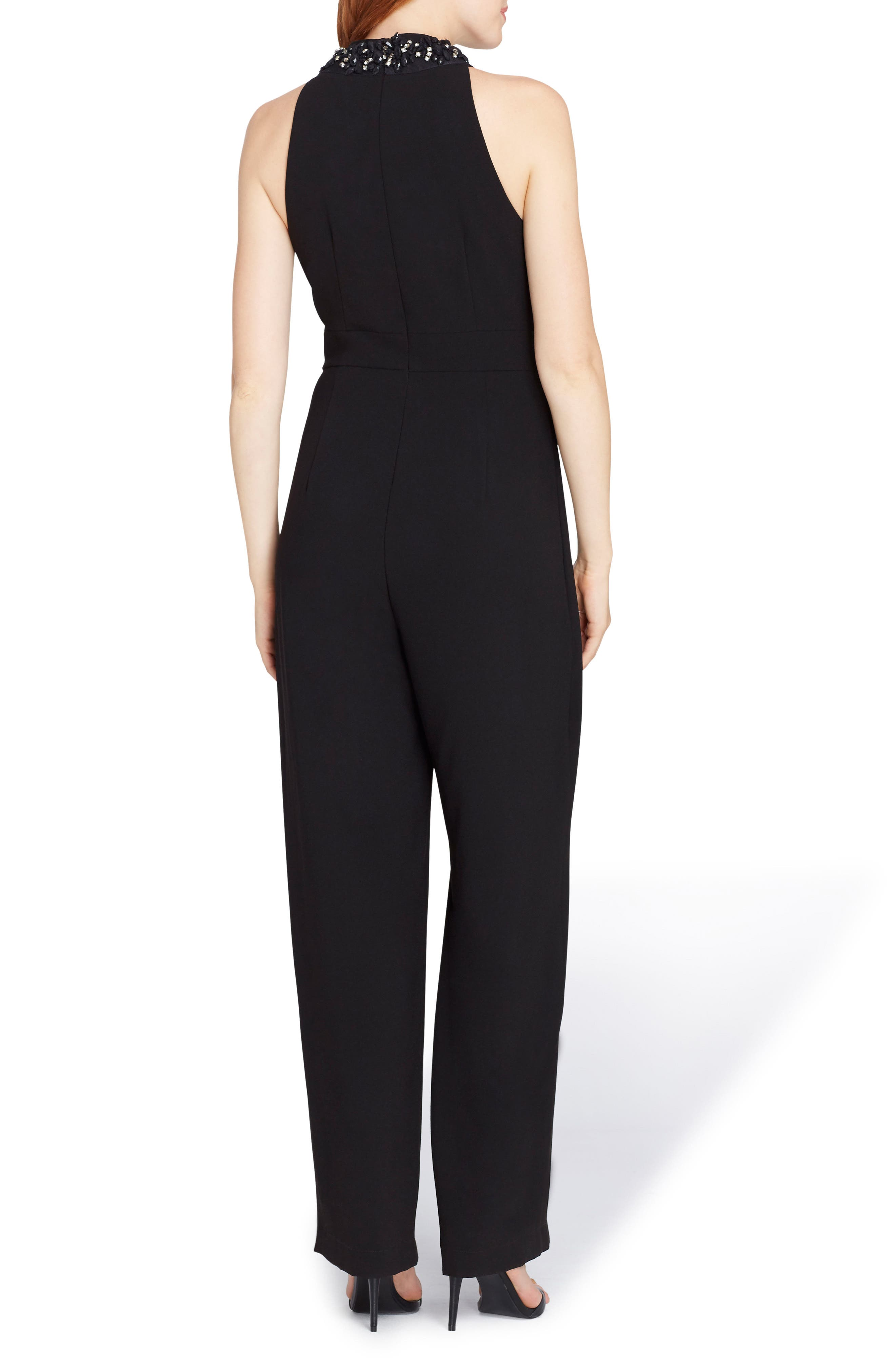 Beaded Neck Sleeveless Crepe Jumpsuit,                             Alternate thumbnail 2, color,                             001