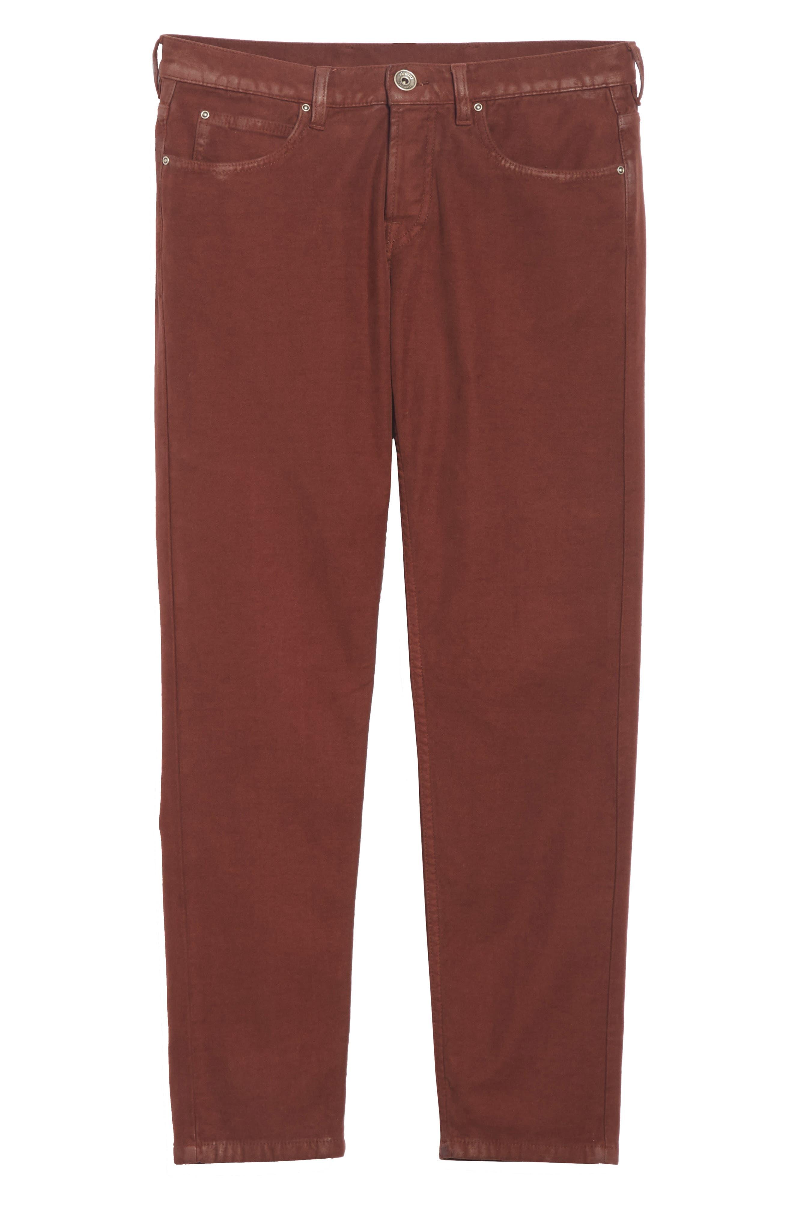 Slim Fit Stretch Cotton Five Pocket Trousers,                             Alternate thumbnail 6, color,                             OCHRE