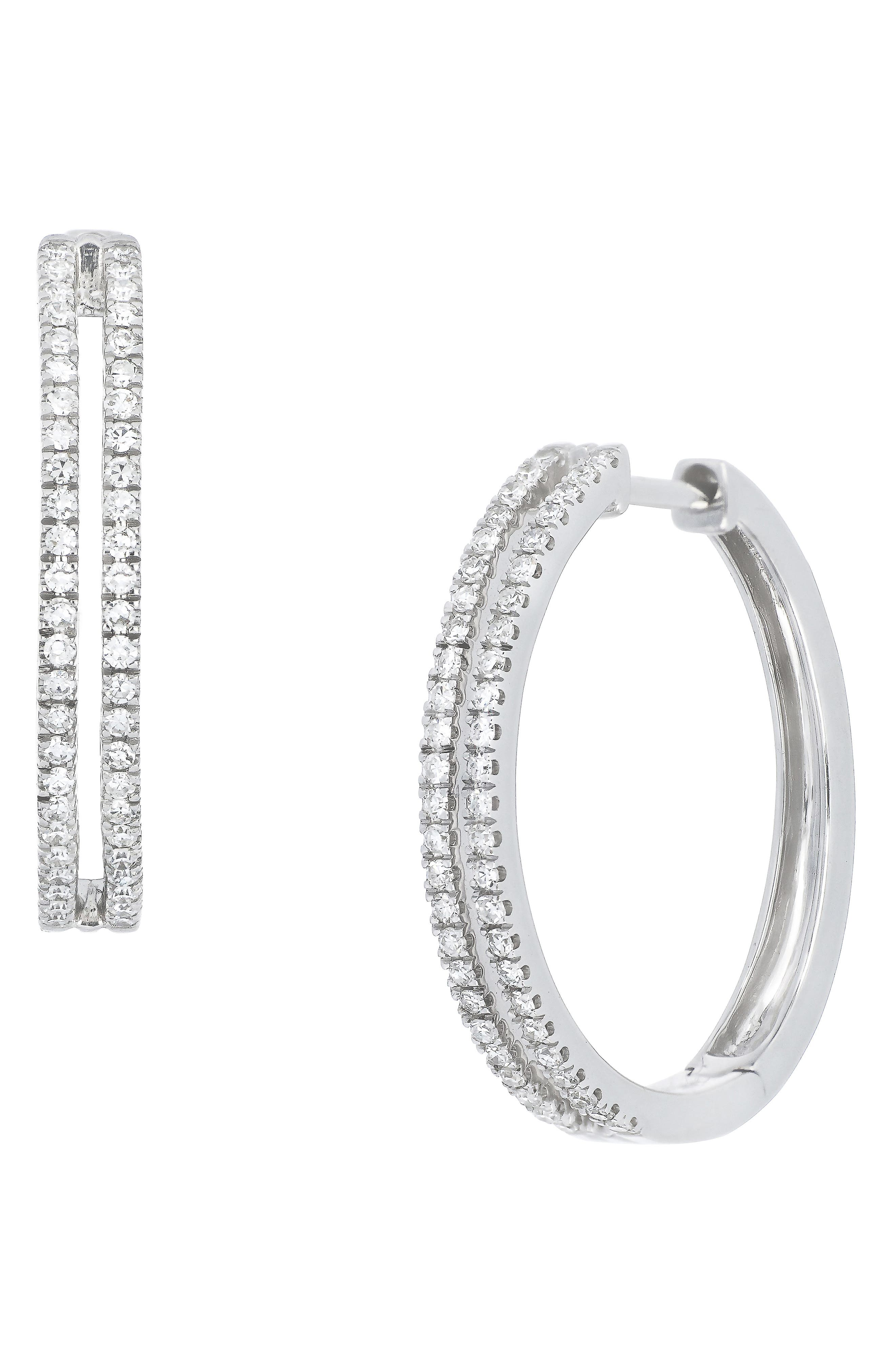 Carrière Double Row Diamond Hoop Earrings,                             Main thumbnail 1, color,                             STERLING SILVER/ DIAMOND