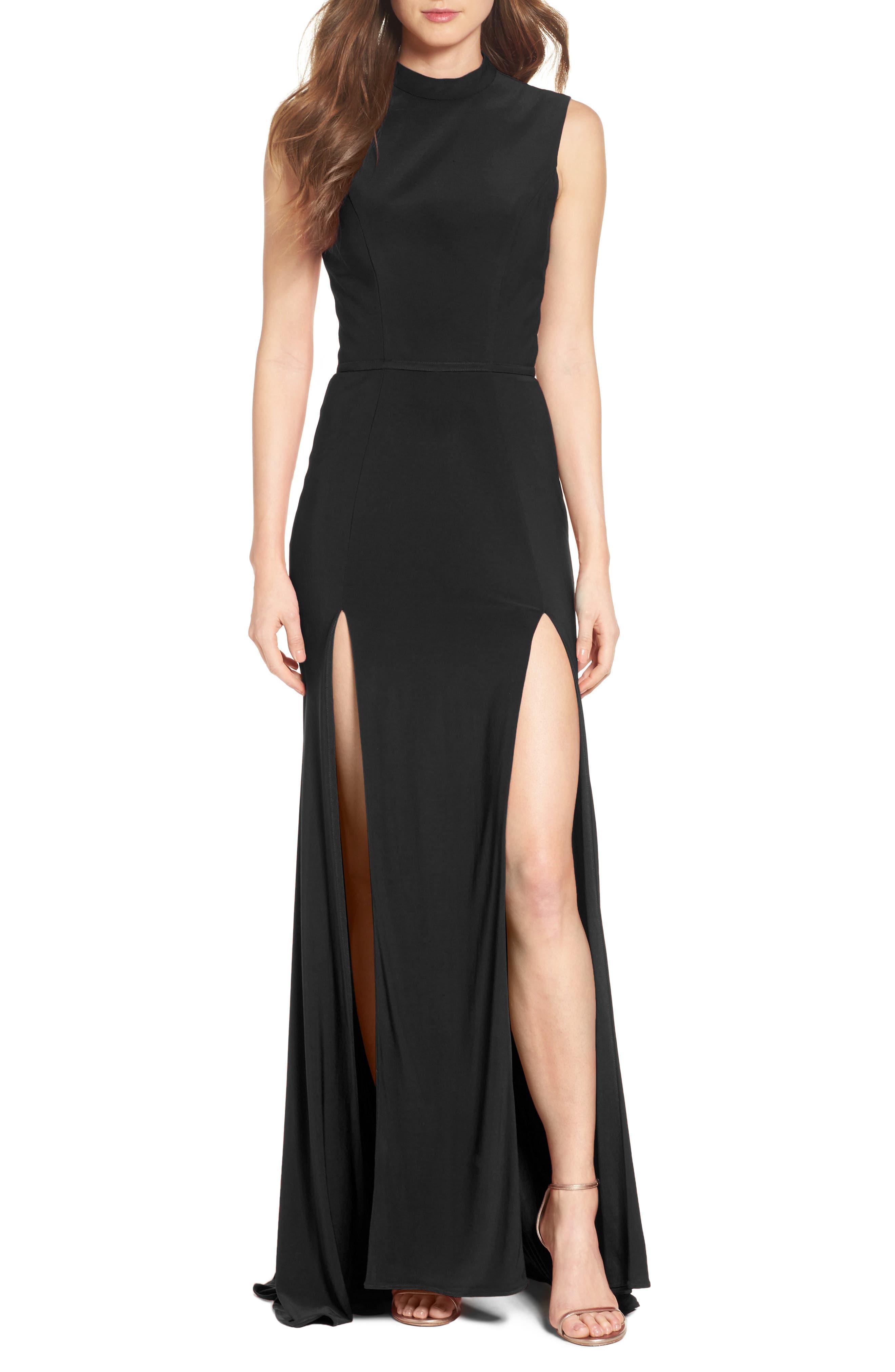 Jersey Double Slit Gown,                             Main thumbnail 1, color,                             BLACK