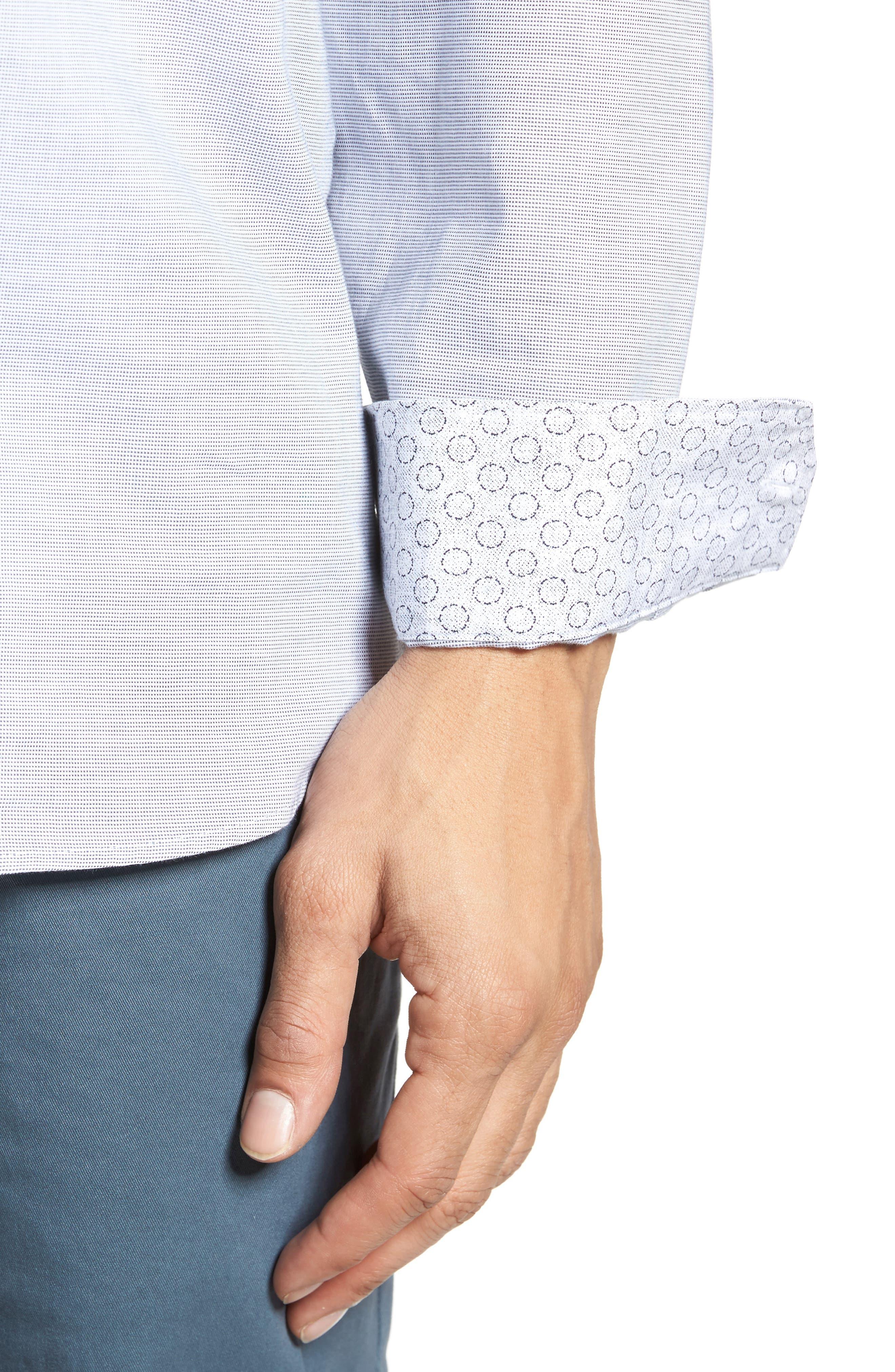 Slim Fit Textured Sport Shirt,                             Alternate thumbnail 4, color,                             020