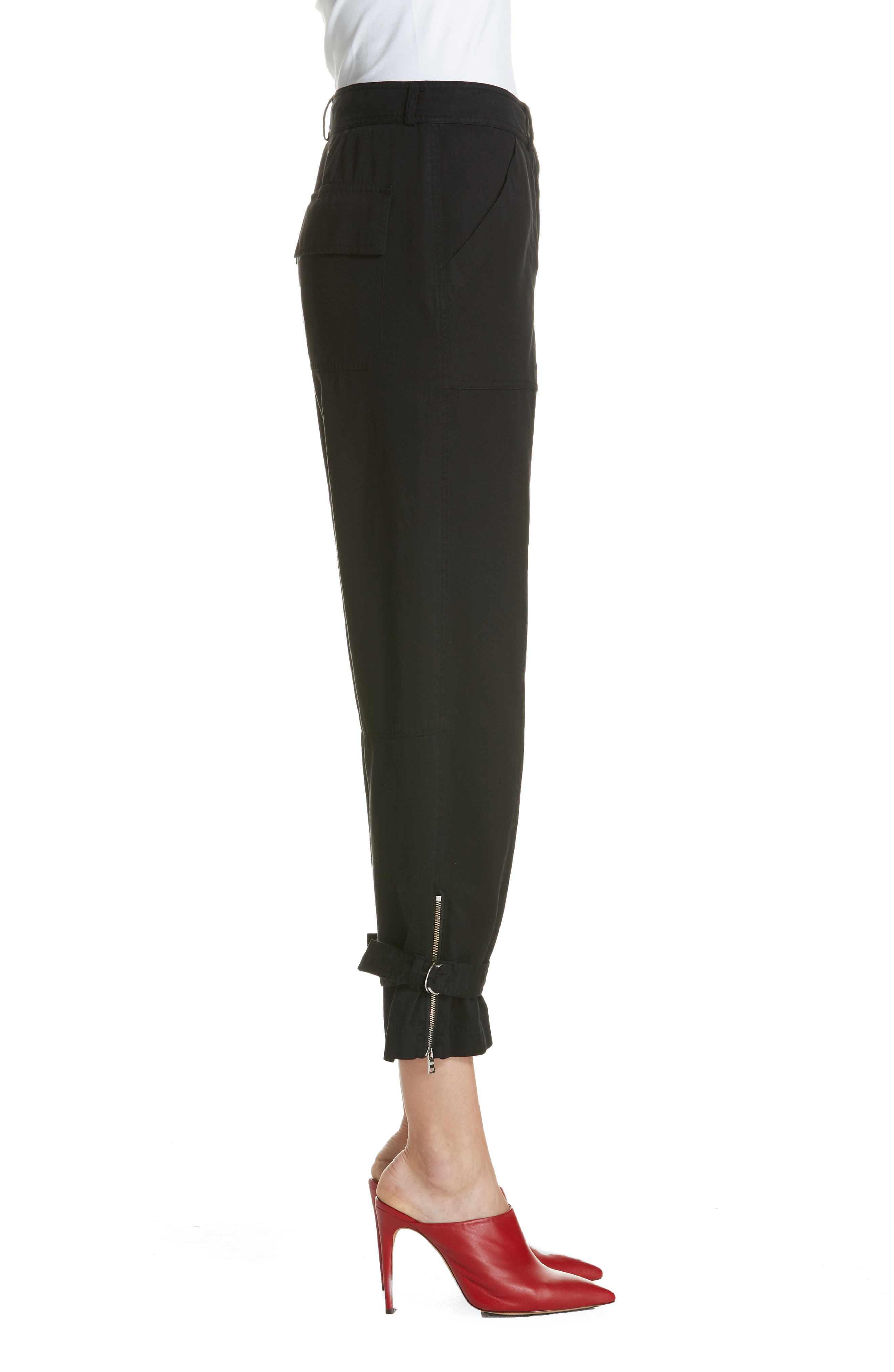 Belt Cuff Pants,                             Alternate thumbnail 3, color,                             BLACK