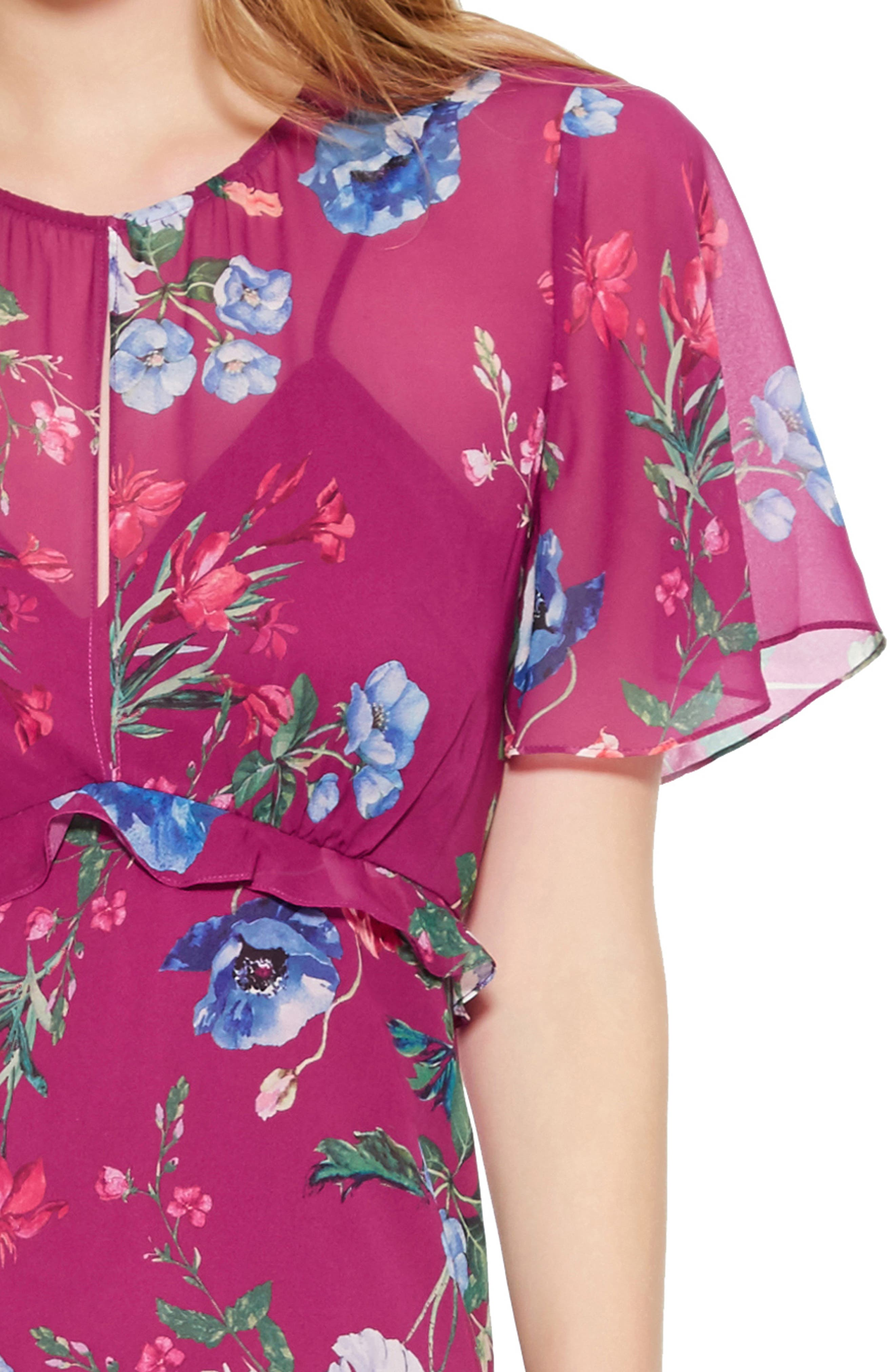 Marina Tiered Ruffle Dress,                             Alternate thumbnail 4, color,                             405