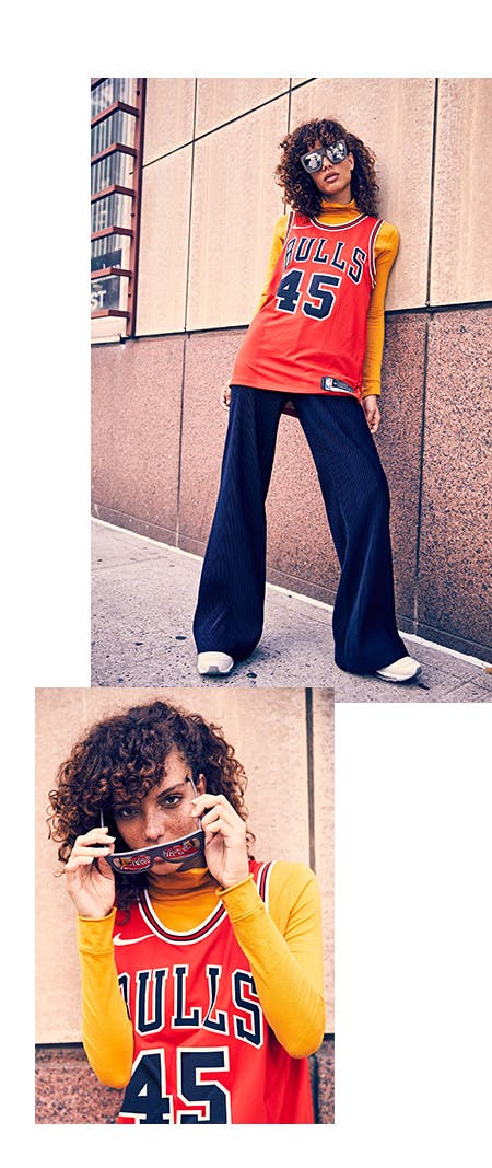 Nordstrom x Nike: how to wear the jersey. Mixed textures and oversized proportions.