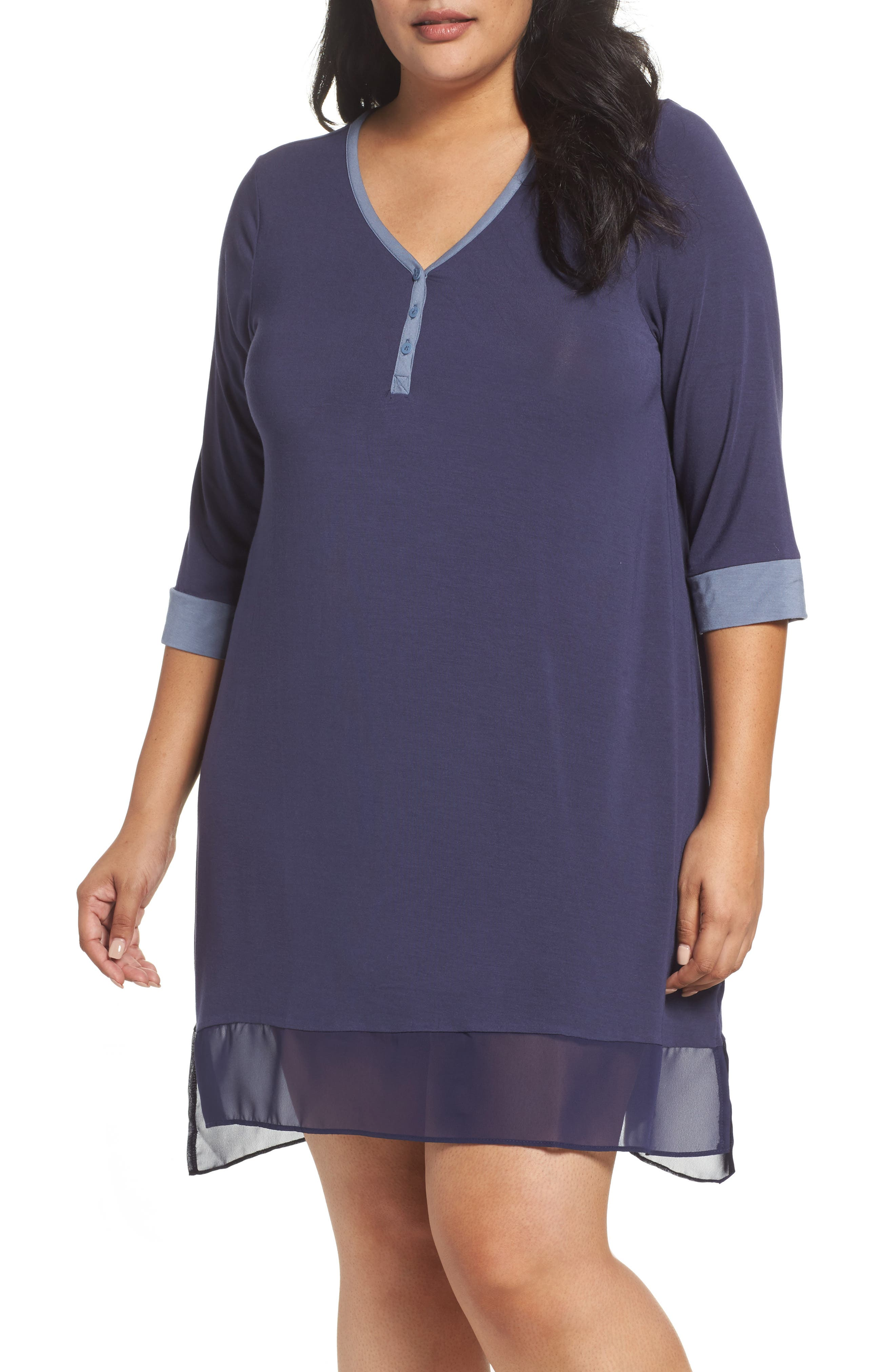 Henley Sleep Shirt,                             Main thumbnail 1, color,                             001
