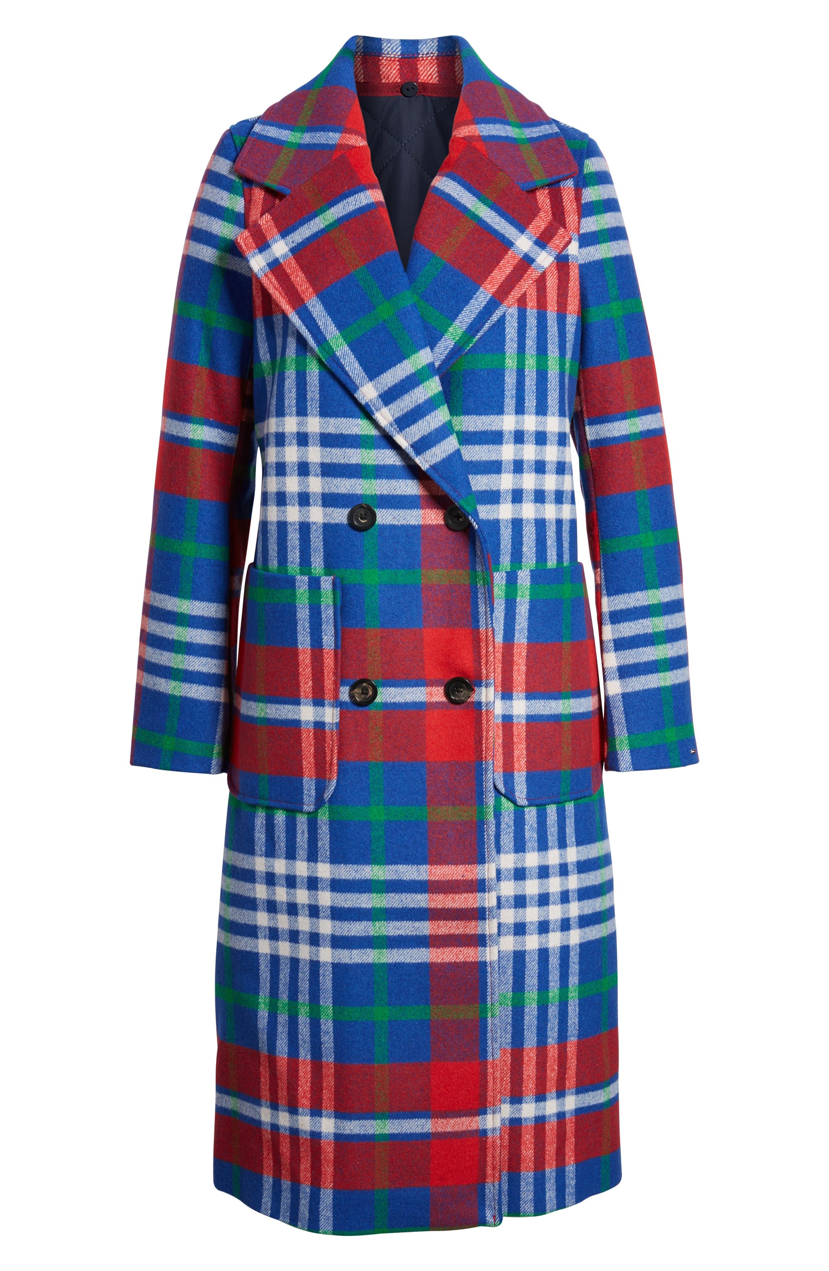 Long Plaid Coat,                             Alternate thumbnail 6, color,                             605