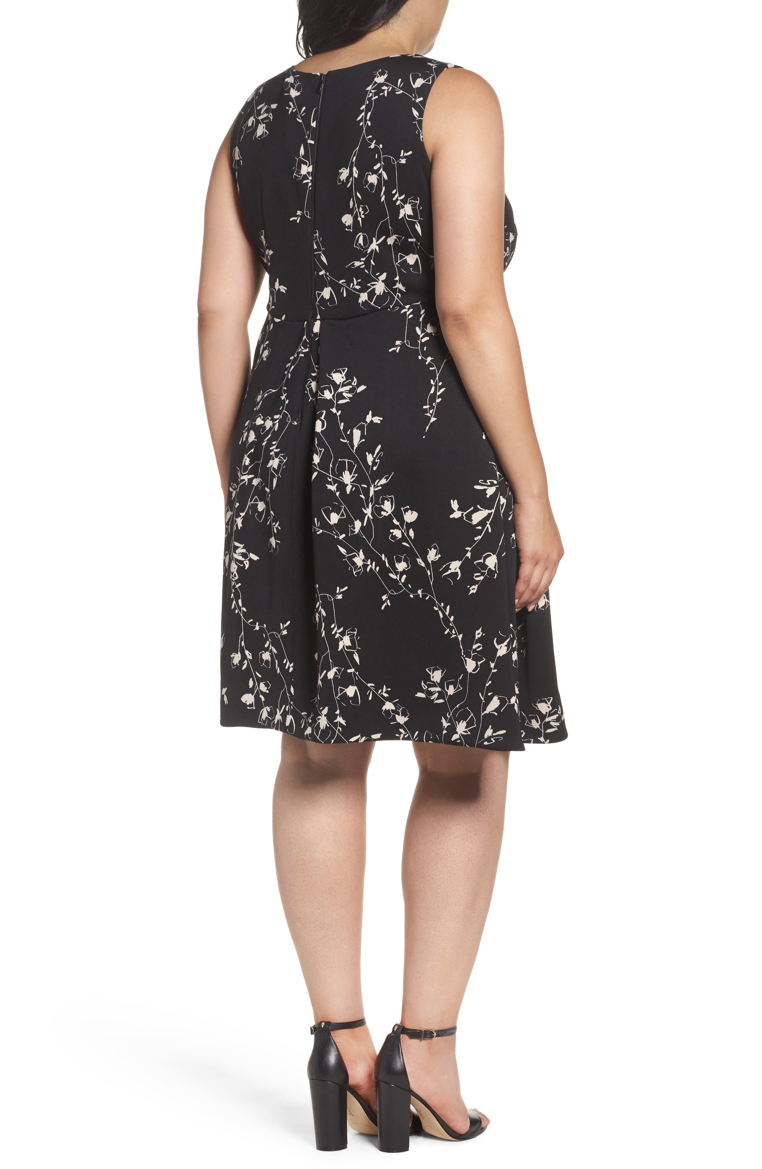 Etched Floral Scuba Knit Fit & Flare Dress,                             Alternate thumbnail 2, color,                             001