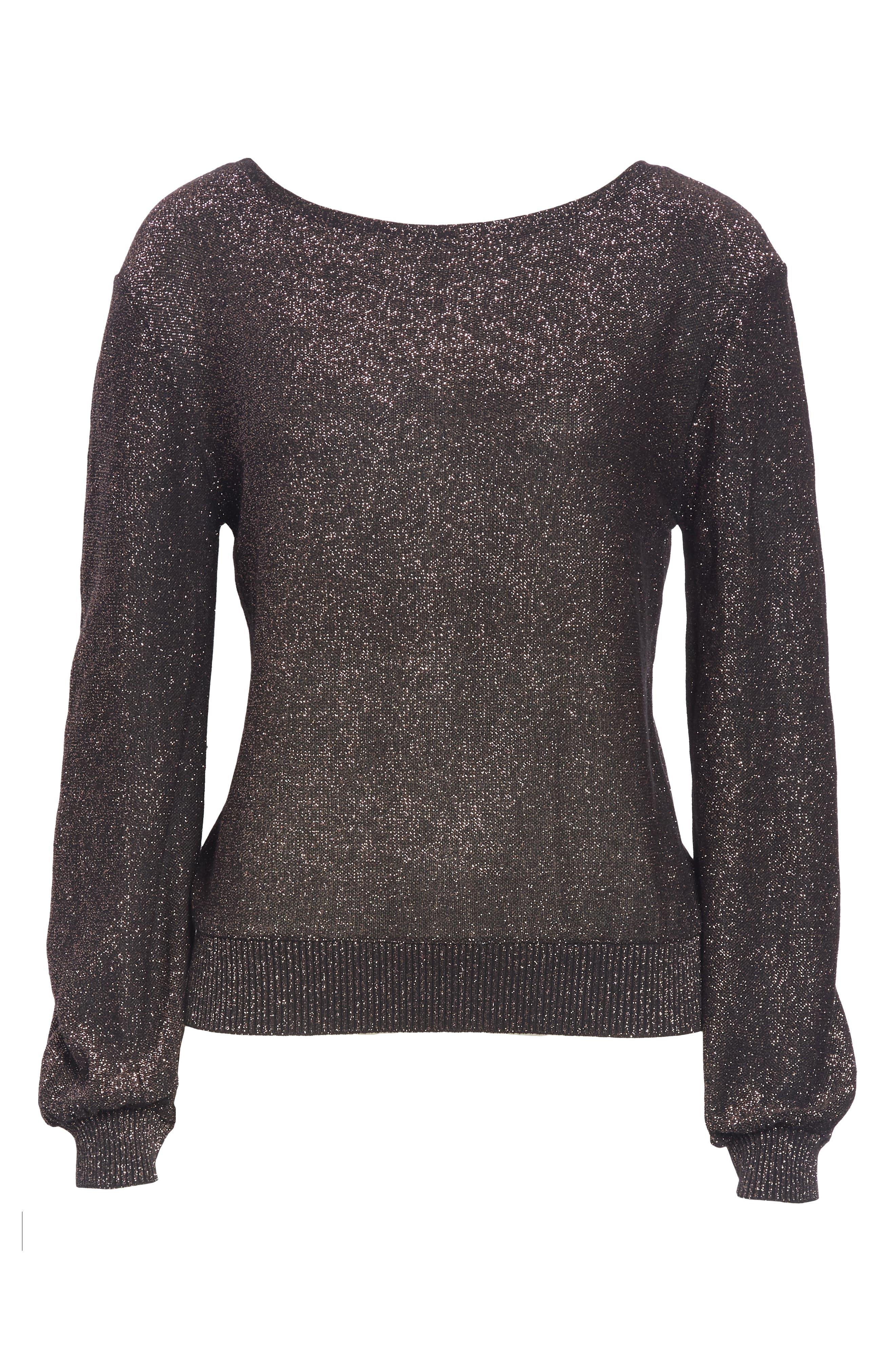 Metallic Shimmer Cotton Blend Sweater,                             Alternate thumbnail 6, color,                             LILAC