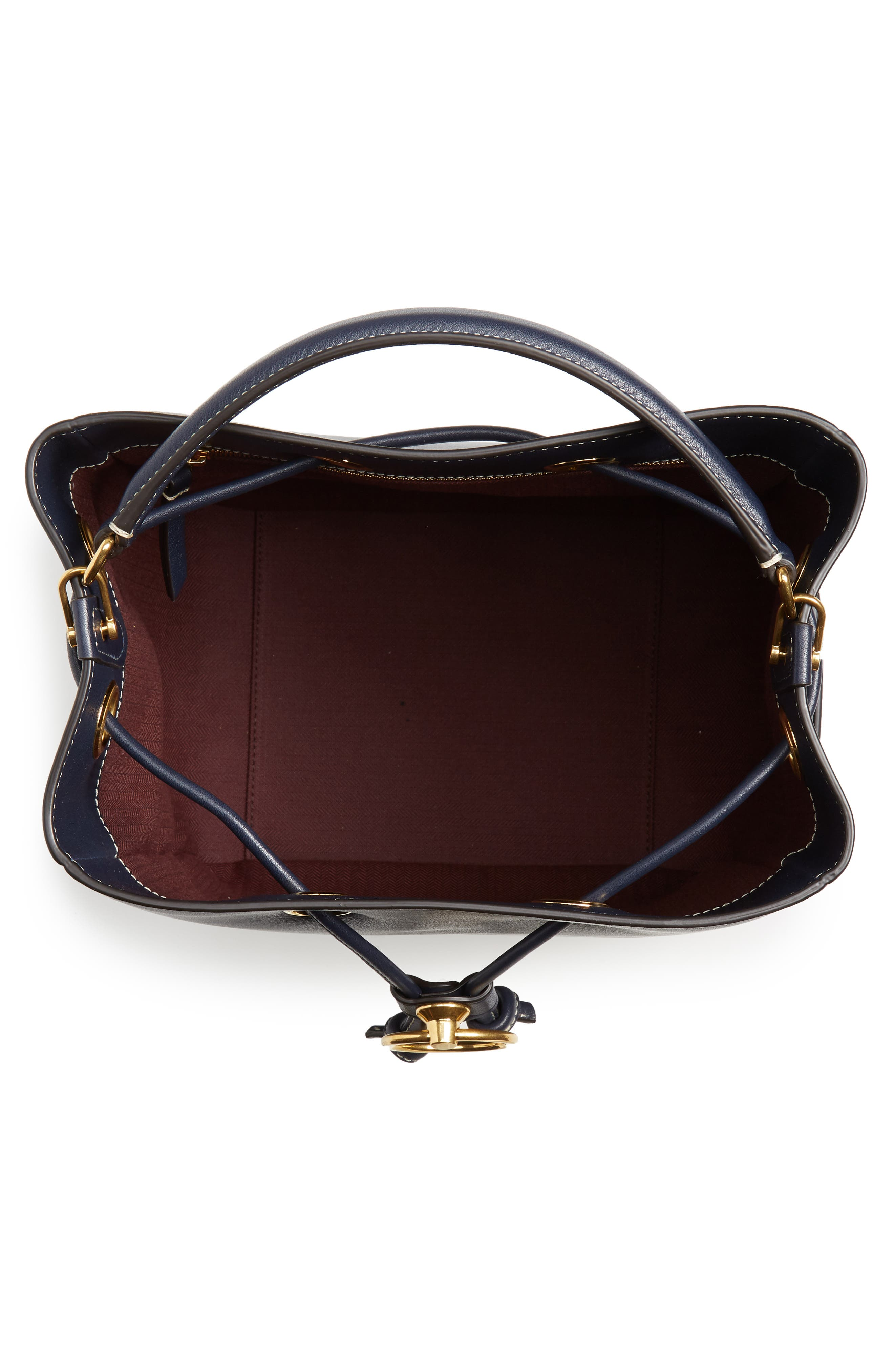 MULBERRY,                             Hampstead Silky Calfskin Leather Bucket Bag,                             Alternate thumbnail 4, color,                             MIDNIGHT