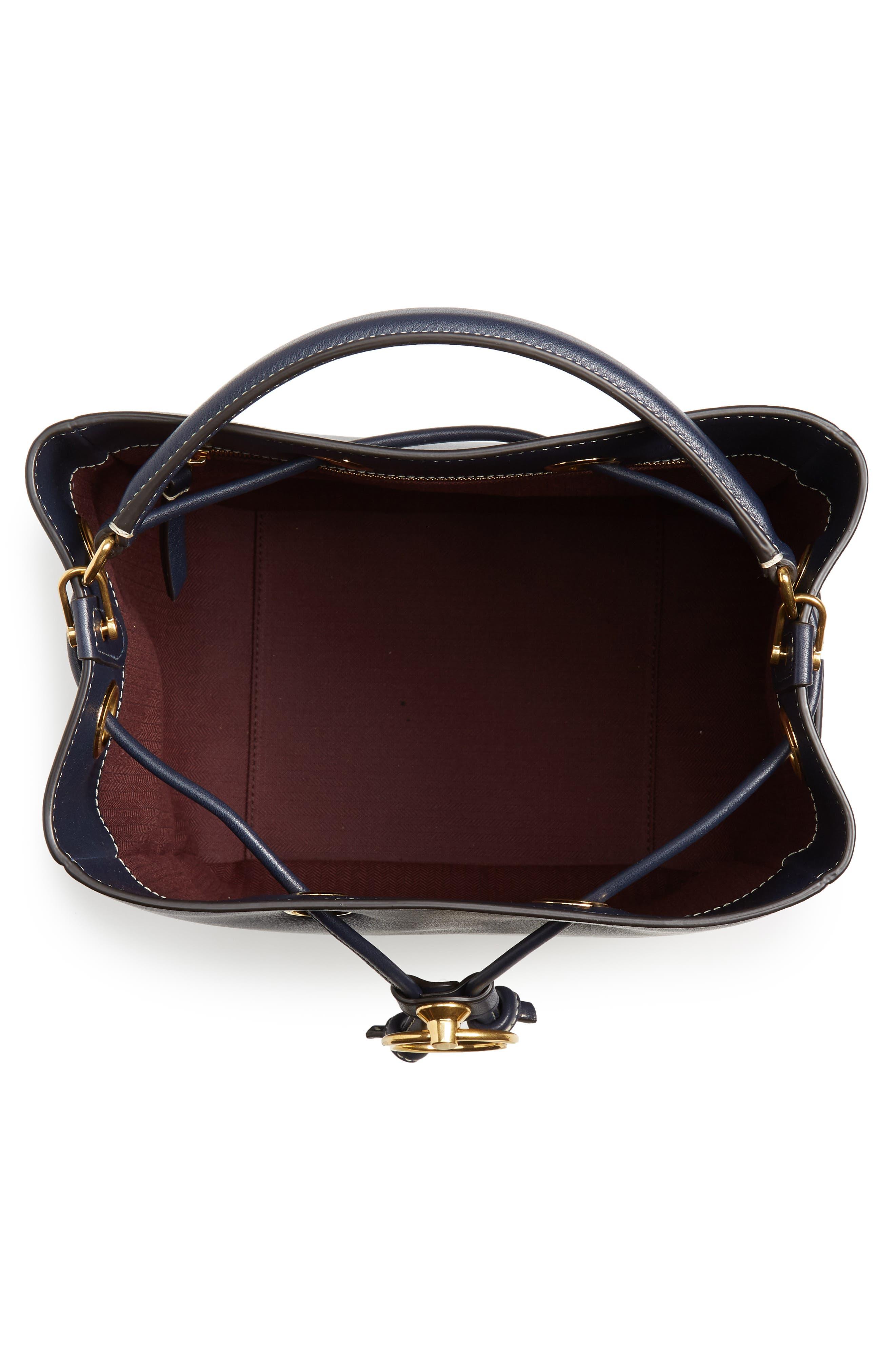 Hampstead Silky Calfskin Leather Bucket Bag,                             Alternate thumbnail 4, color,                             MIDNIGHT
