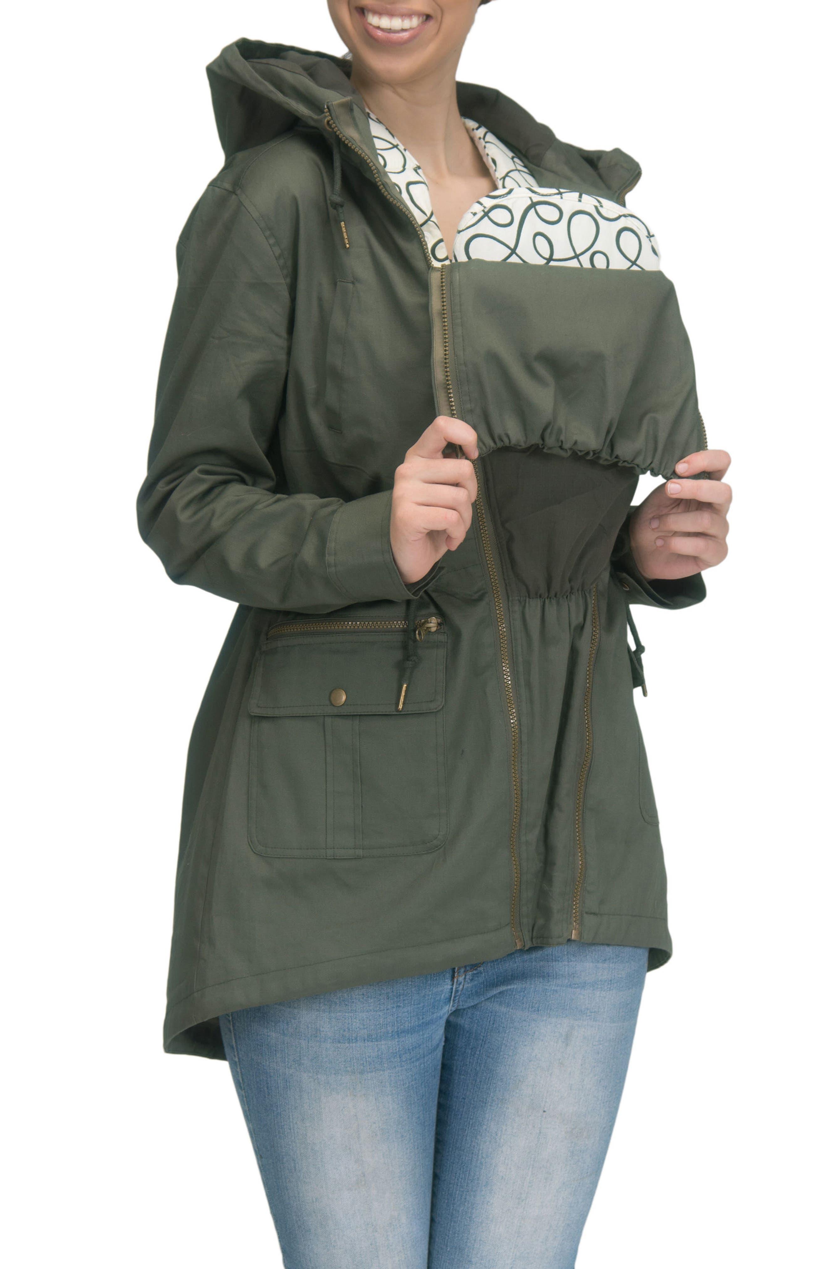 Convertible Military 3-in-1 Maternity/Nursing Jacket,                             Alternate thumbnail 6, color,                             KHAKI GREEN