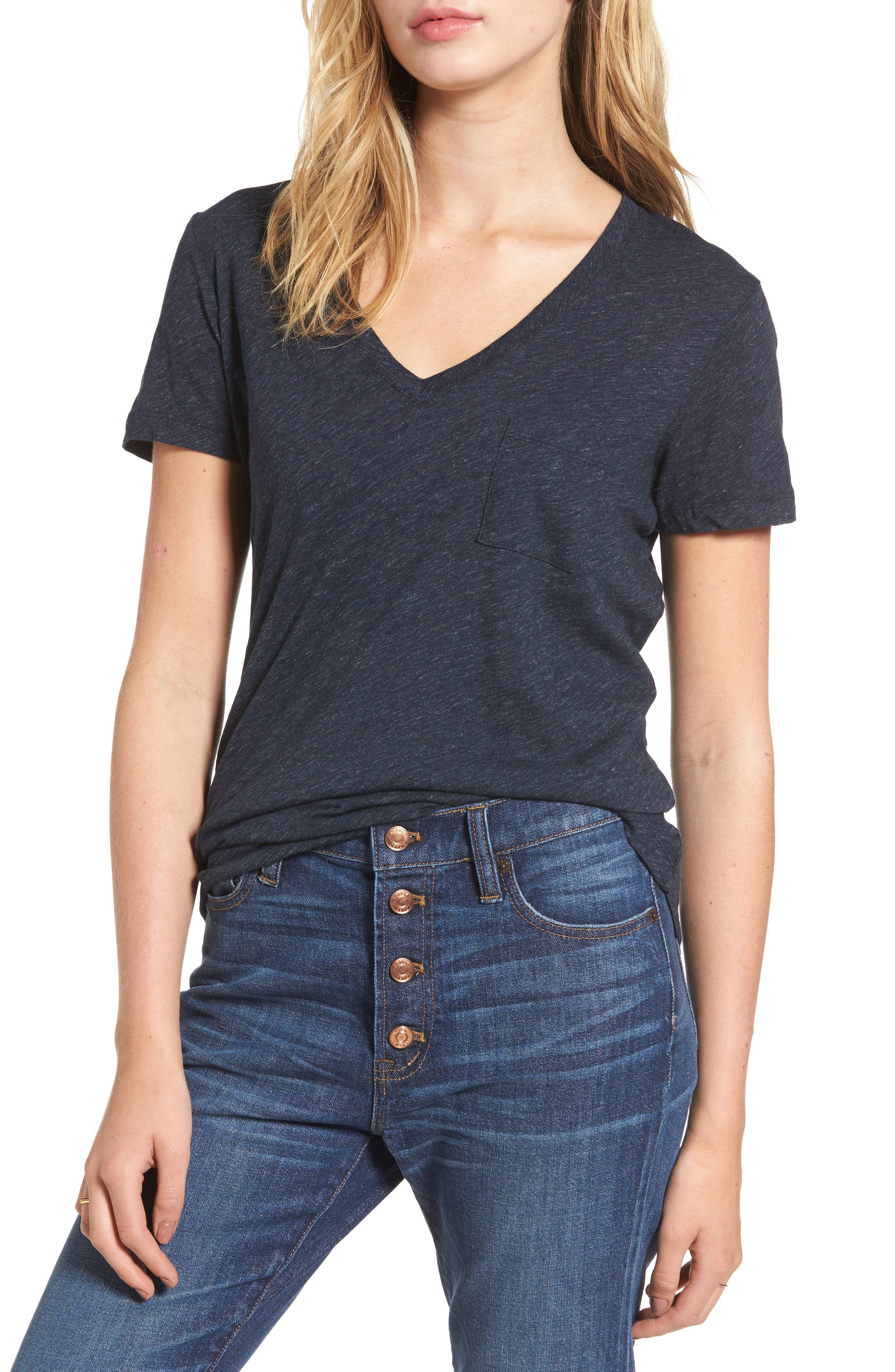 Whisper Cotton V-Neck Pocket Tee,                             Alternate thumbnail 46, color,