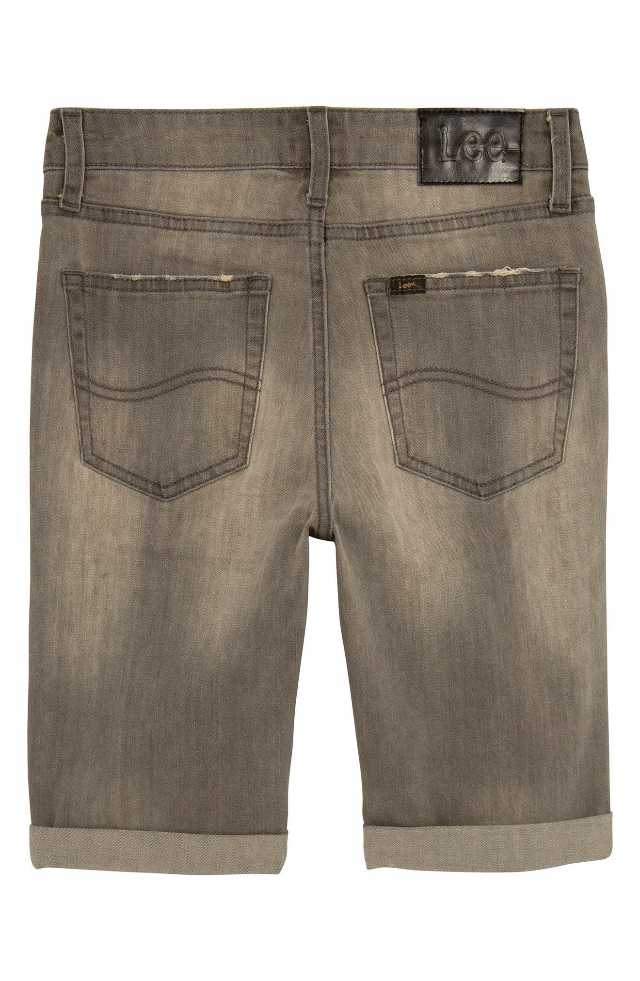Straight Leg Cuffed Denim Shorts,                             Alternate thumbnail 2, color,                             060