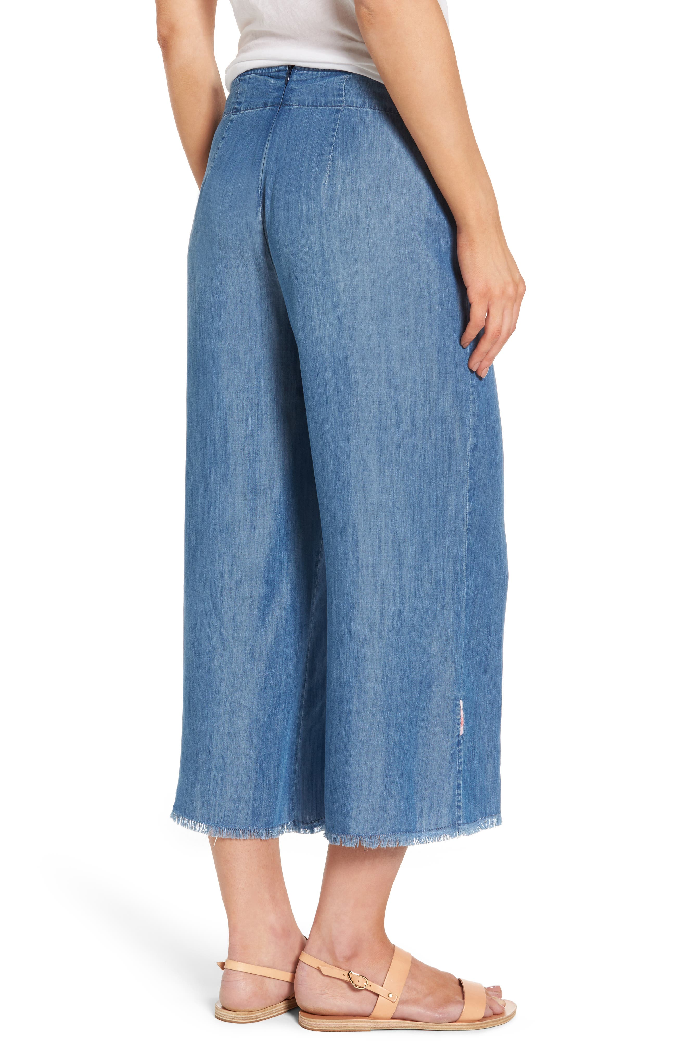 Tie Front Crop Chambray Pants,                             Alternate thumbnail 2, color,