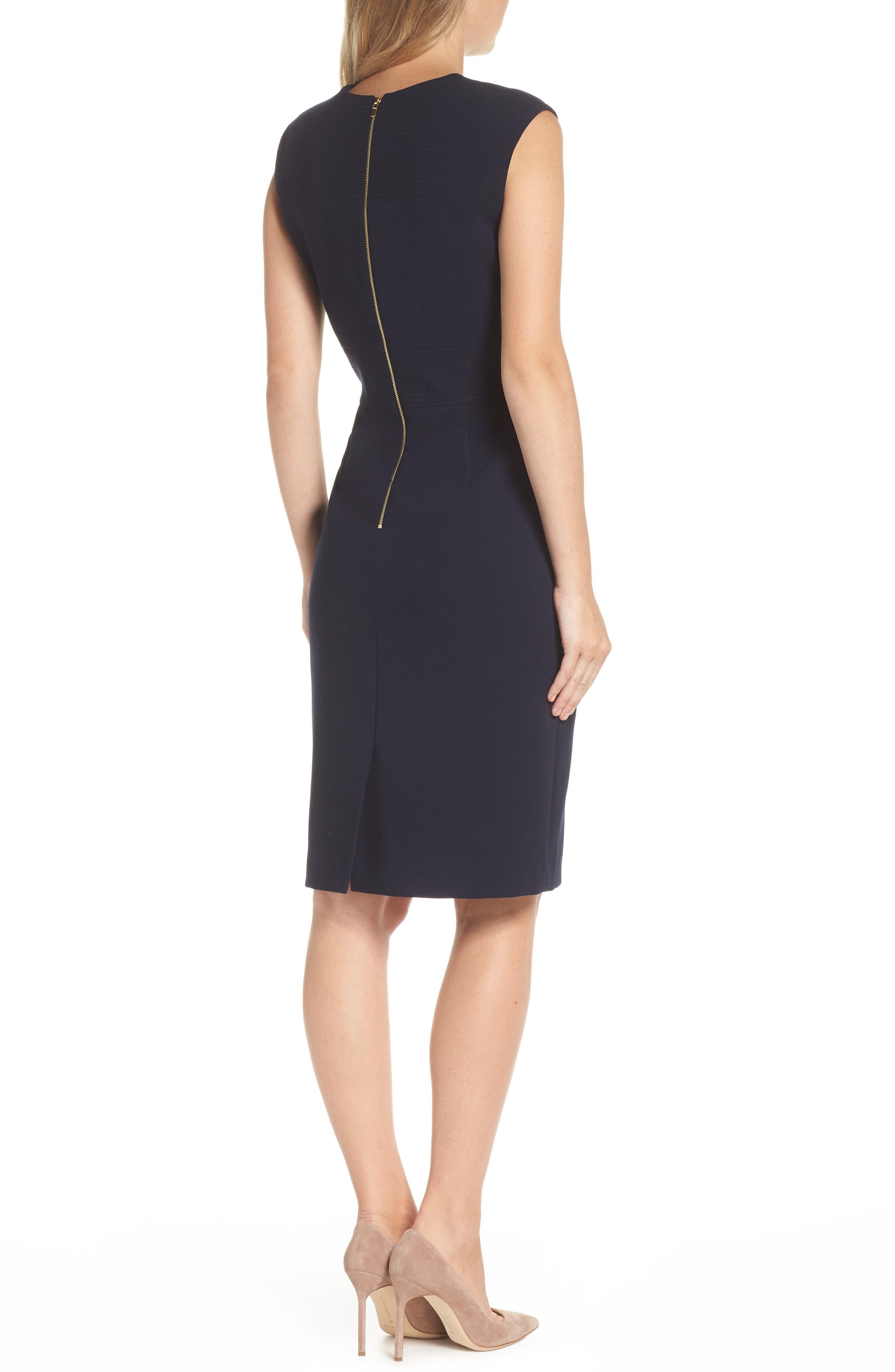 Star Neckline Crepe Sheath Dress,                             Alternate thumbnail 2, color,                             DARK NAVY