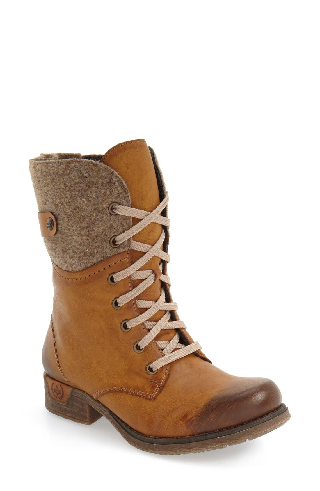 RIEKER ANTISTRESS,                             'Fee 04' Lace-Up Boot,                             Main thumbnail 1, color,                             BROWN FAUX LEATHER
