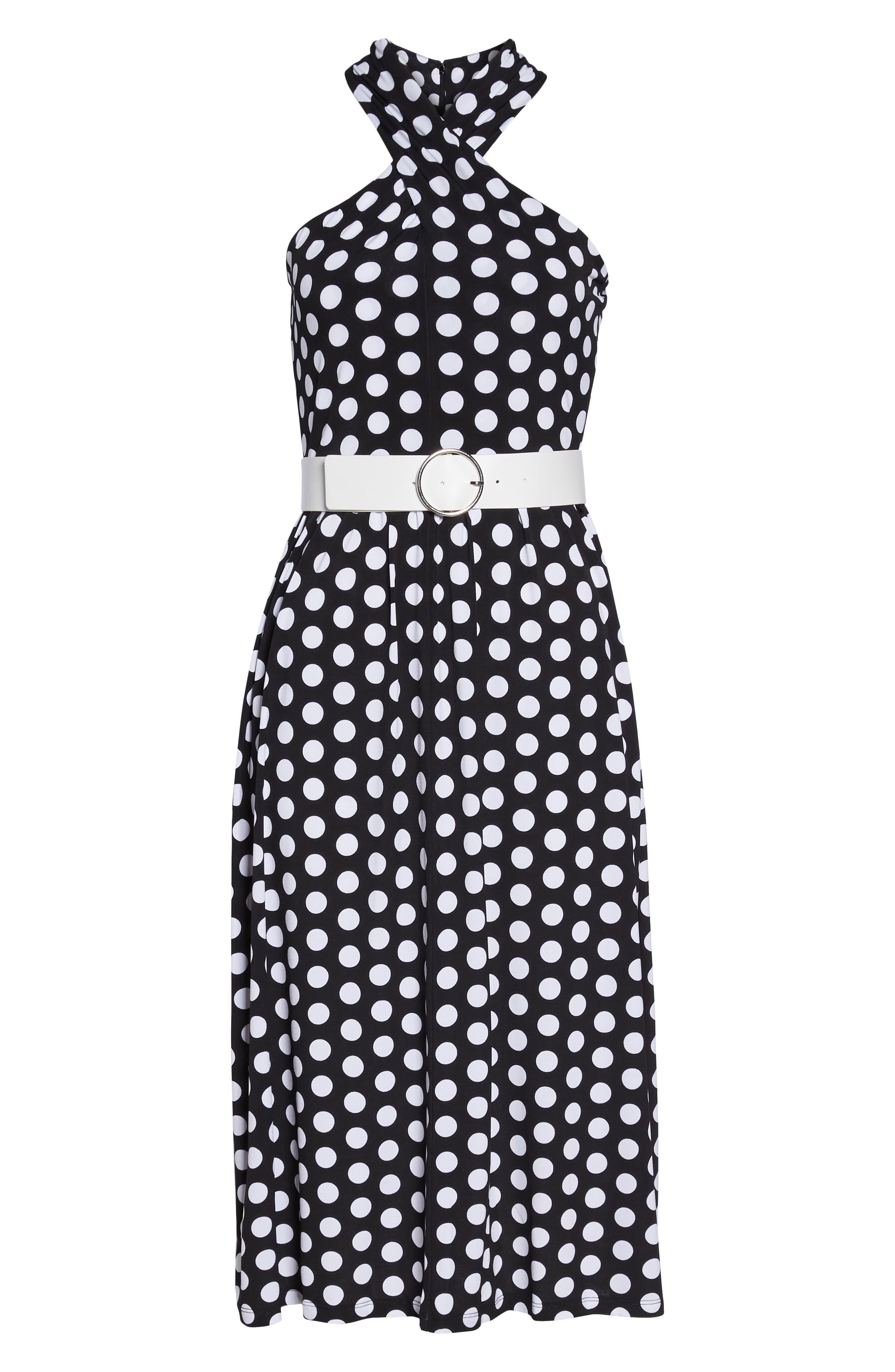 Dot Deluxe Halter Midi Dress,                             Alternate thumbnail 8, color,                             008