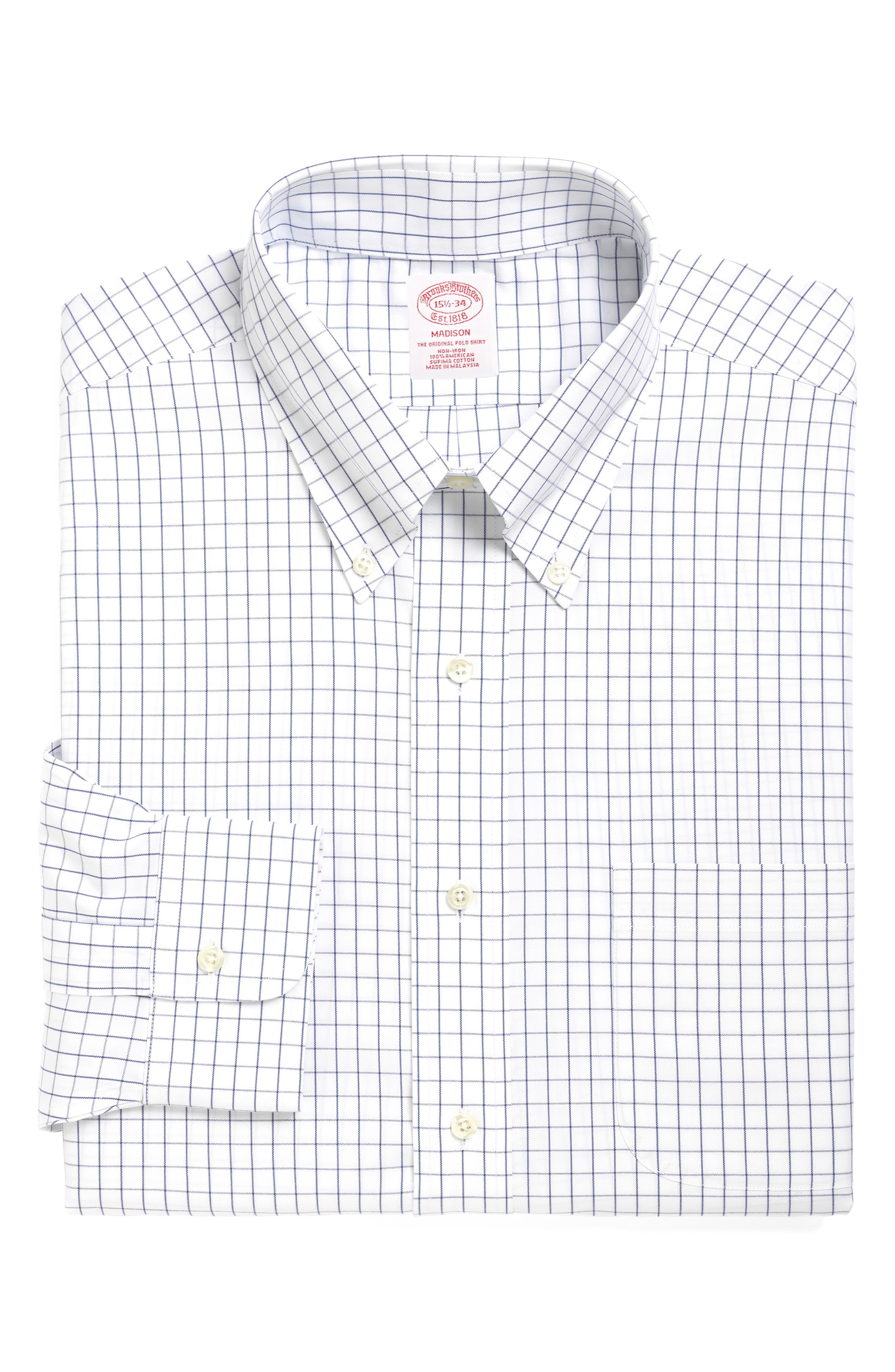 Classic Fit Check Dress Shirt,                             Main thumbnail 1, color,                             BLUE