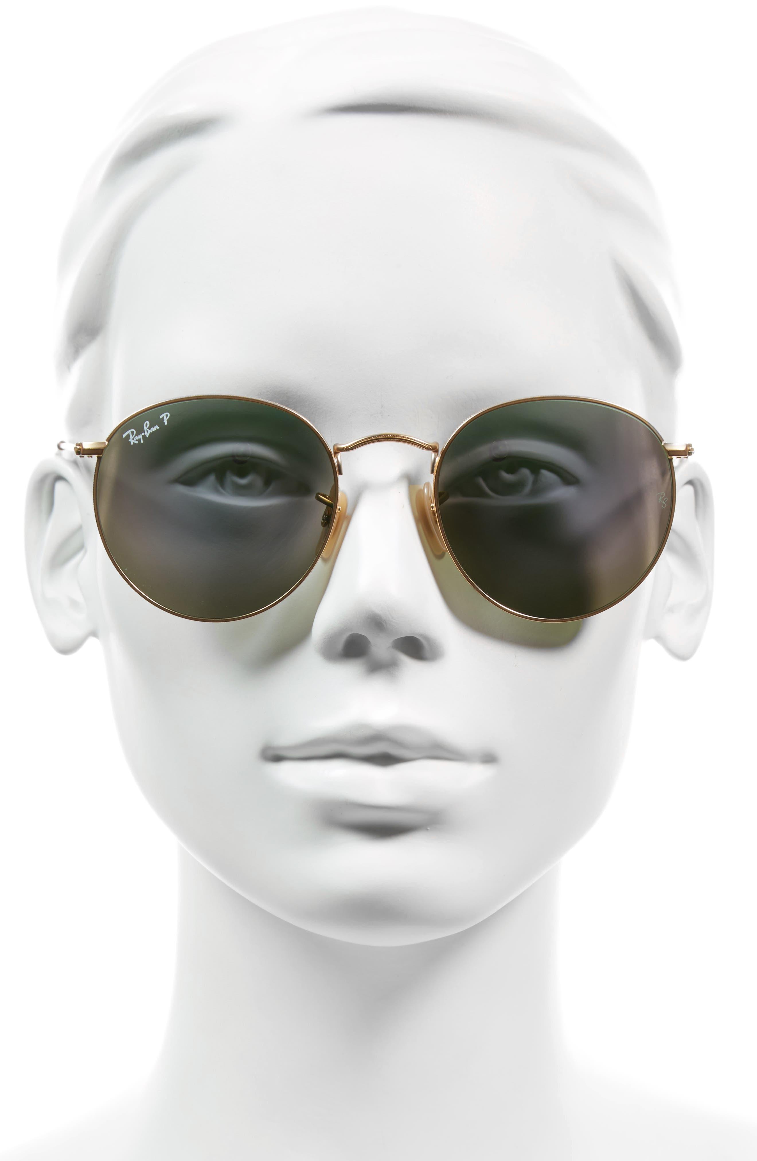 53mm Polarized Round Retro Sunglasses,                             Alternate thumbnail 2, color,                             300