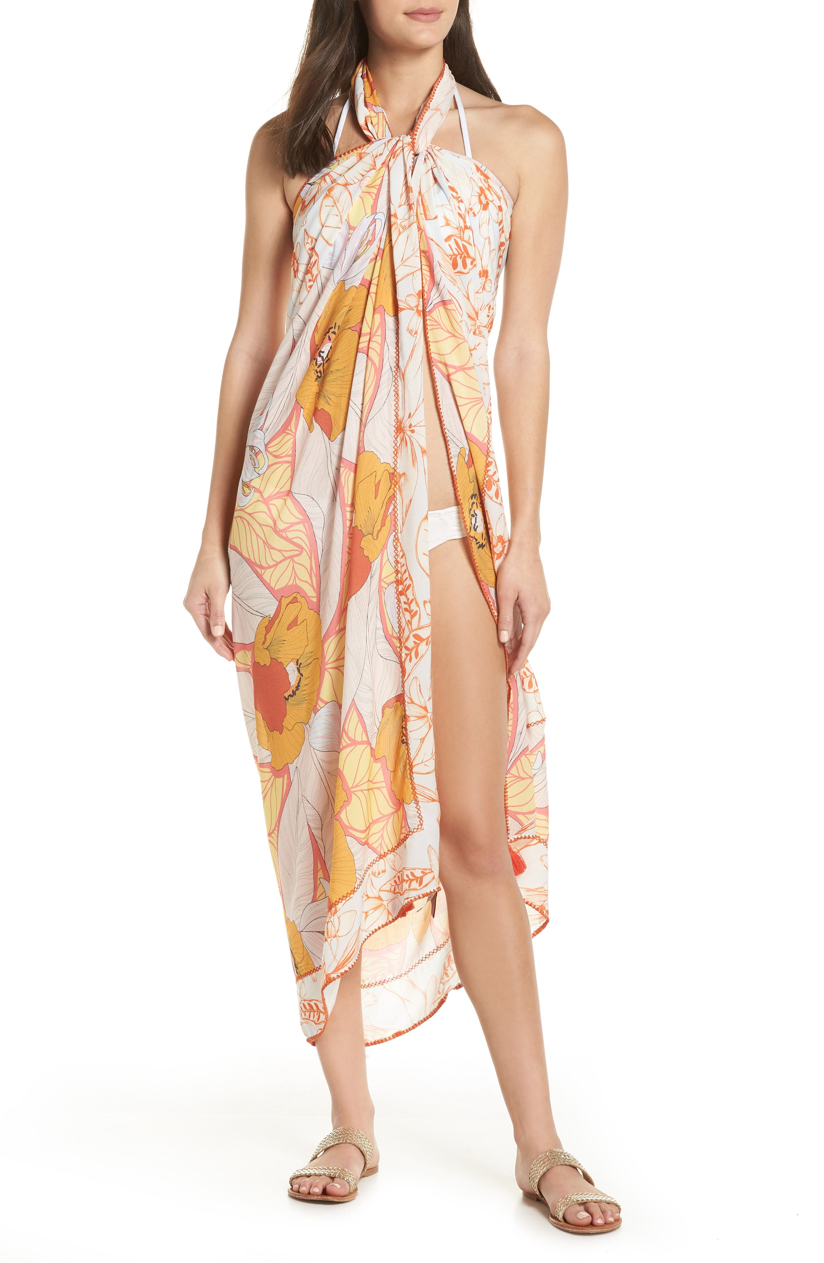 Mellow Yellow Leaf Pattern Pareo Cover-Up,                             Main thumbnail 1, color,                             700