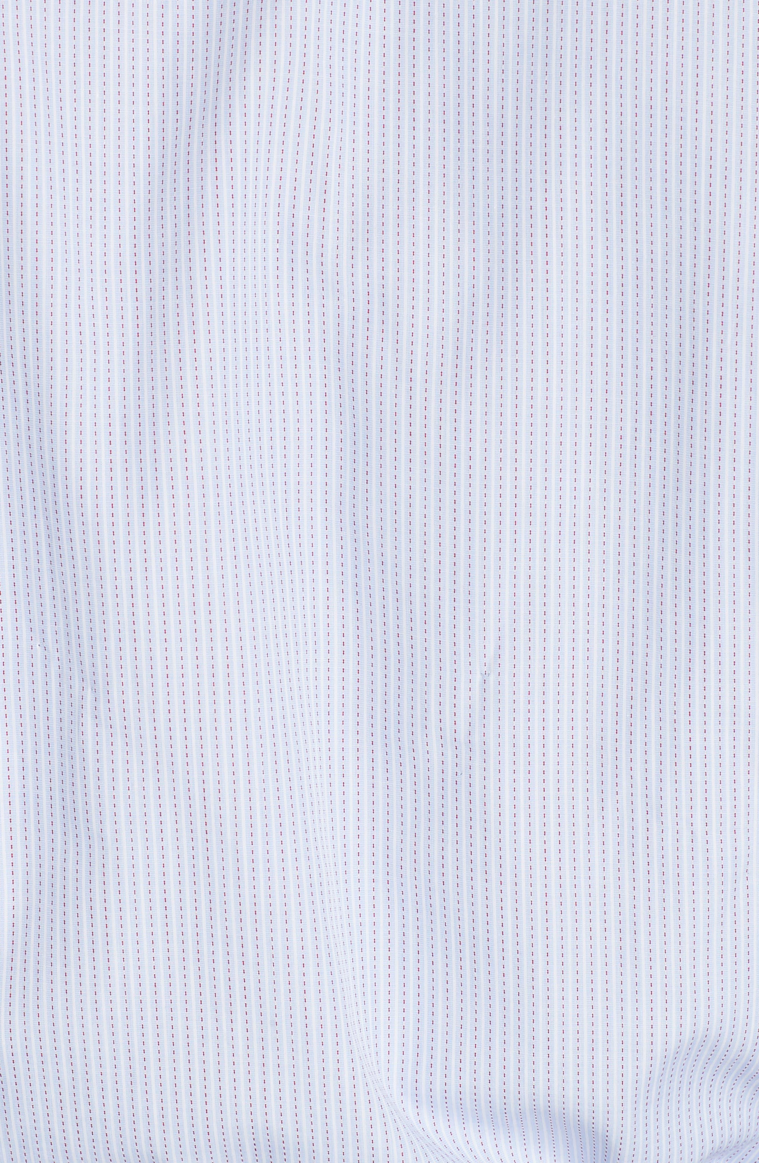 Trim Fit Stripe Dress Shirt,                             Alternate thumbnail 5, color,                             MED BLUE
