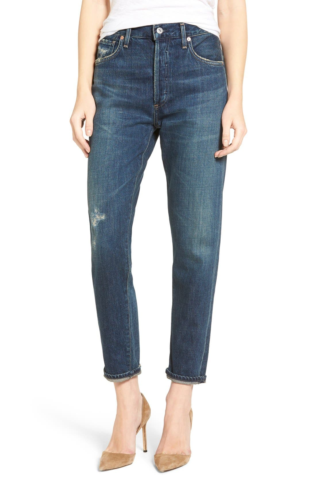Liya High Waist Slim Boyfriend Jeans,                             Main thumbnail 1, color,                             WILTERN
