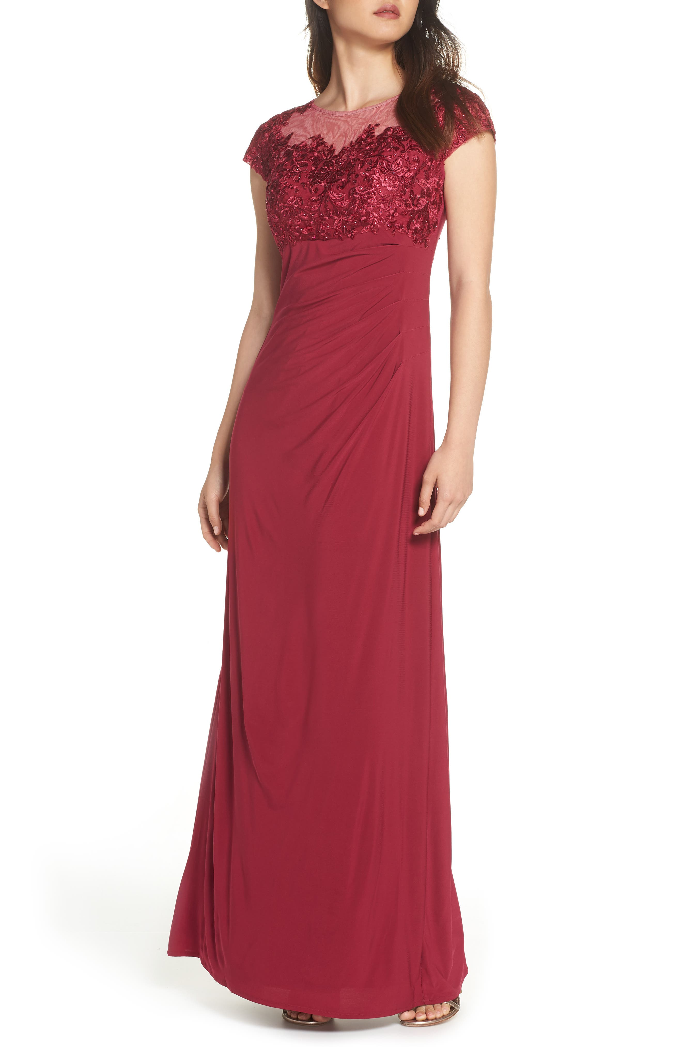 Alex Evenings Empire Waist Ruched Gown, Pink