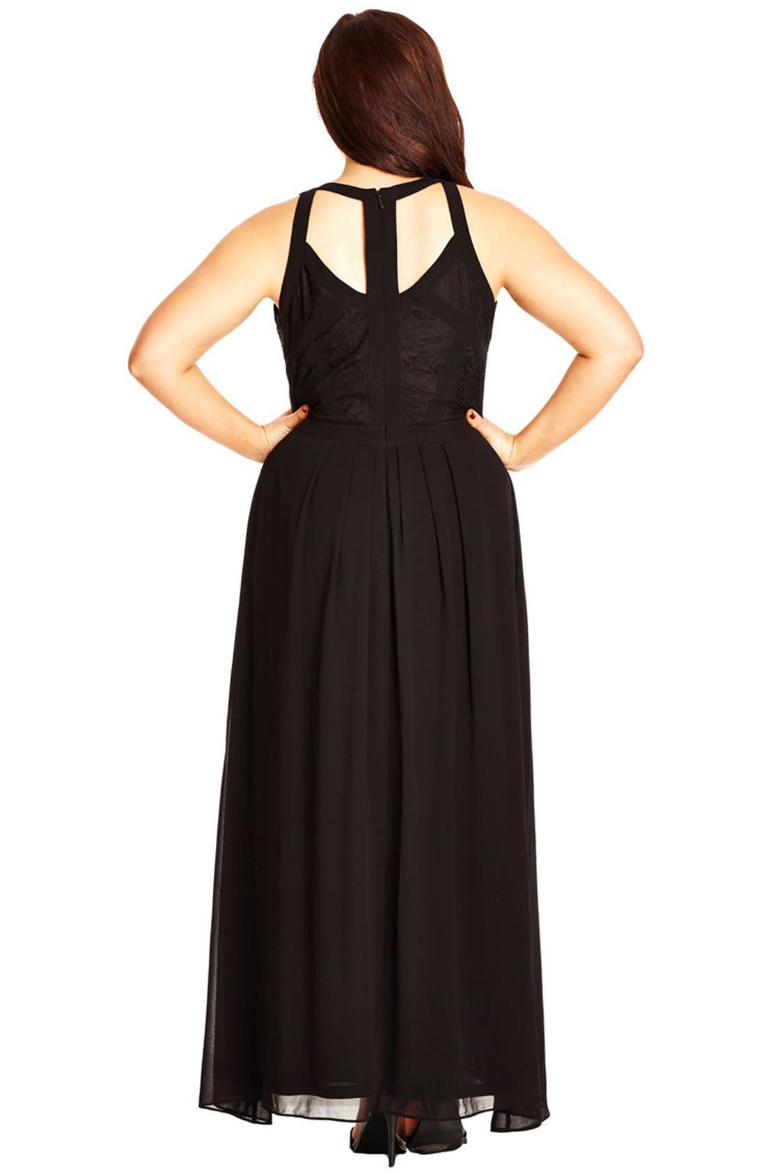 Paneled Lace Bodice Gown,                             Alternate thumbnail 2, color,                             BLACK