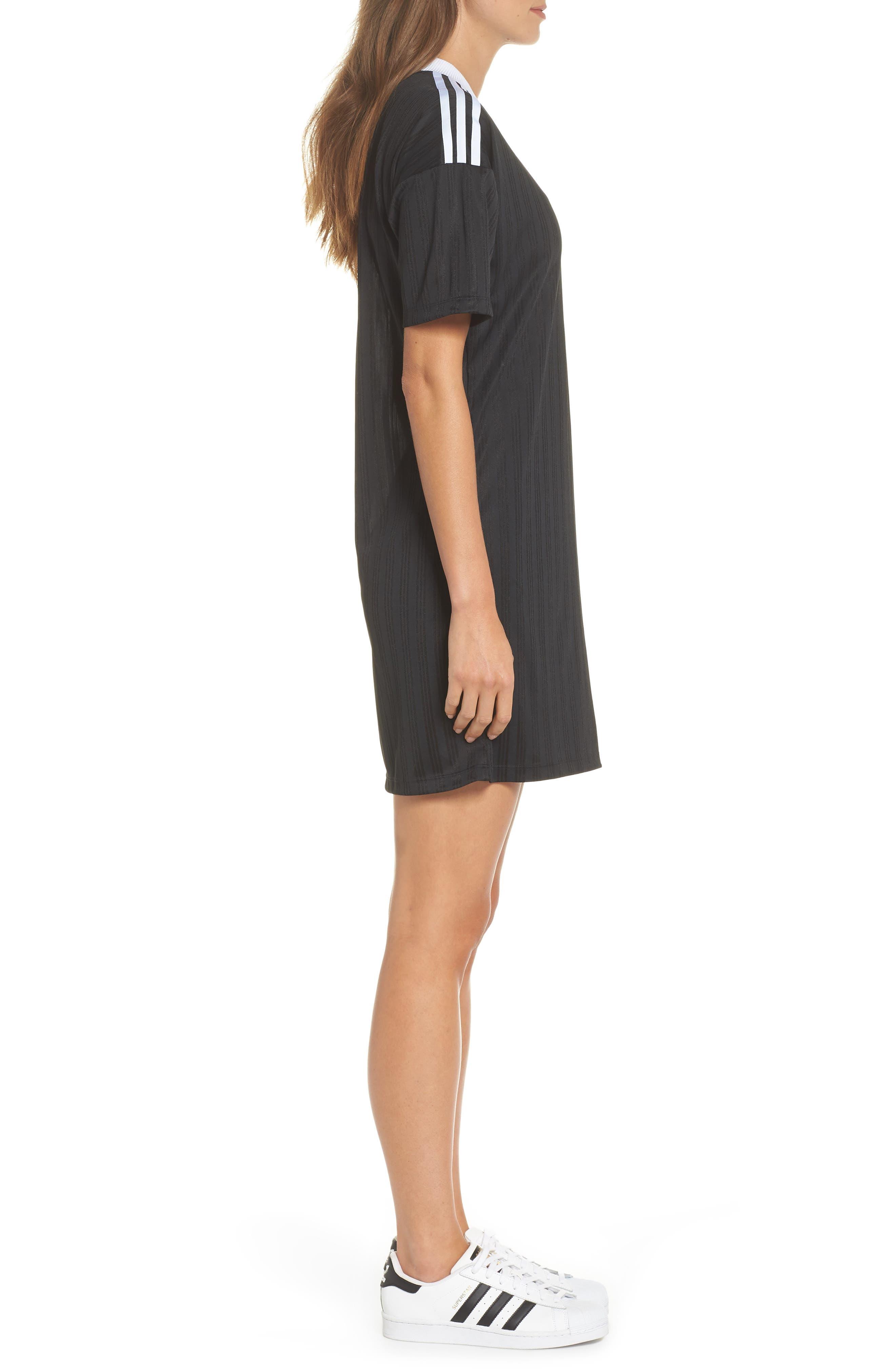 ADIDAS ORIGINALS,                             Trefoil T-Shirt Dress,                             Alternate thumbnail 3, color,                             001