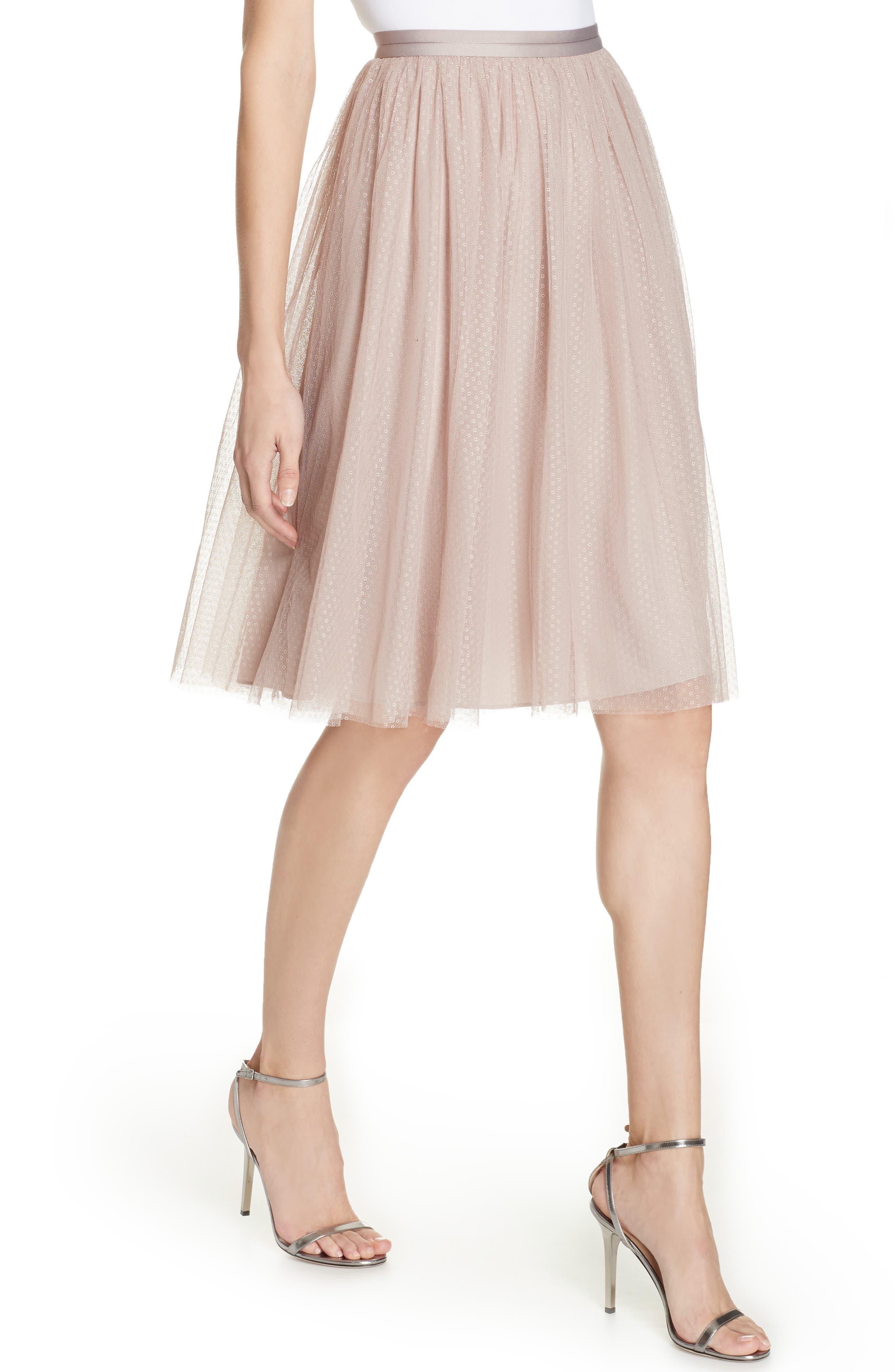 Dotted Tulle A-Line Skirt,                             Alternate thumbnail 4, color,                             DUSK ROSE