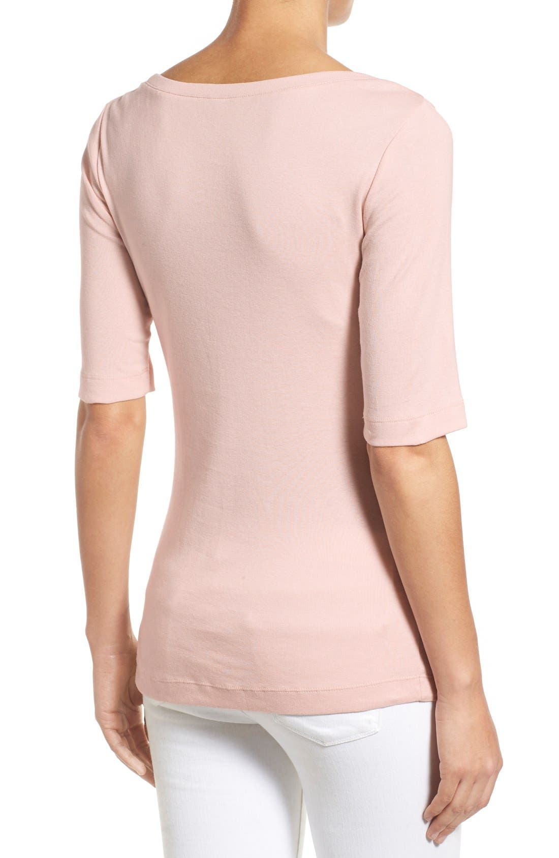 Ballet Neck Cotton & Modal Knit Elbow Sleeve Tee,                             Alternate thumbnail 263, color,