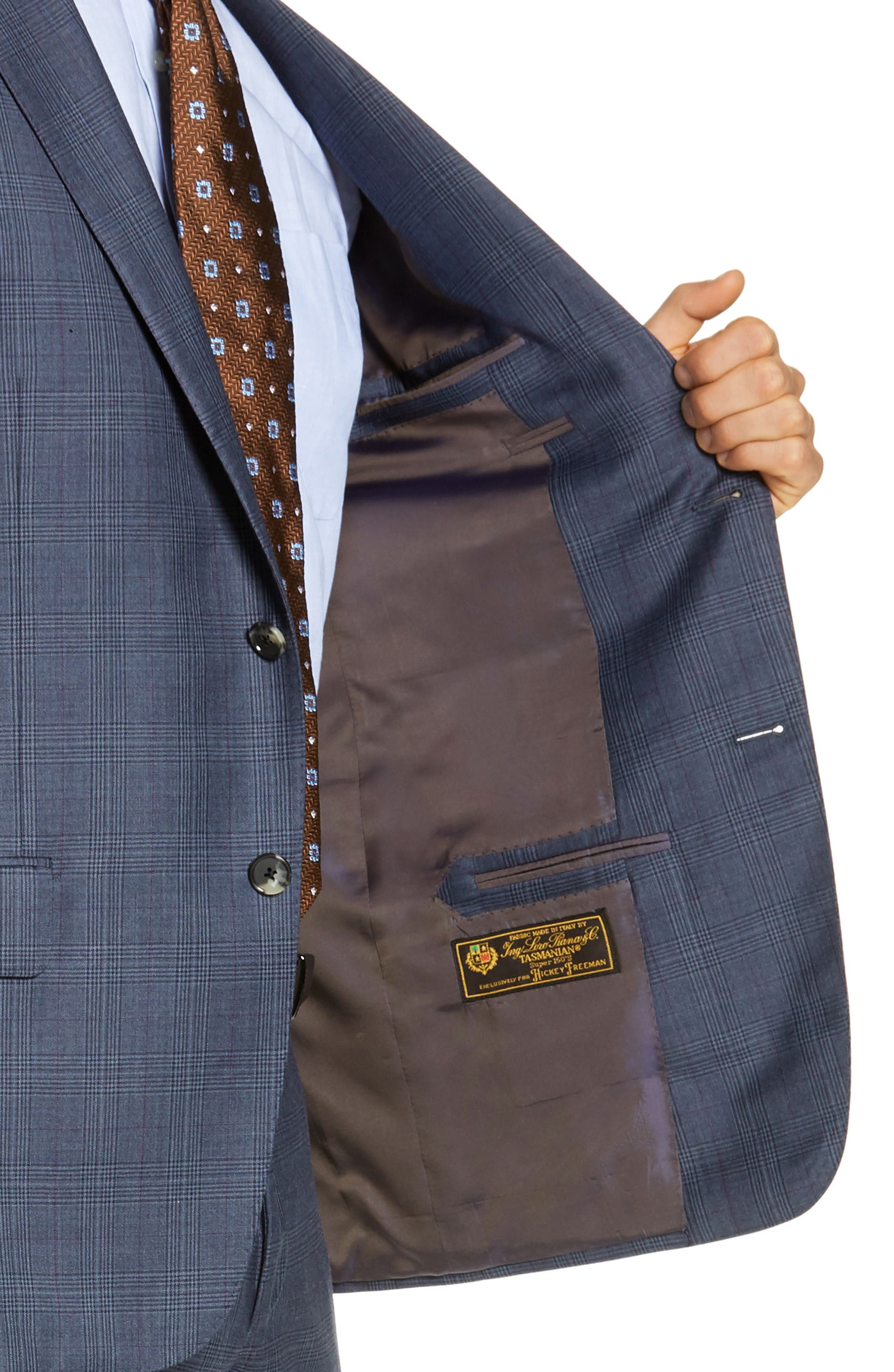 Classic Fit Plaid Wool Suit,                             Alternate thumbnail 4, color,                             GREY