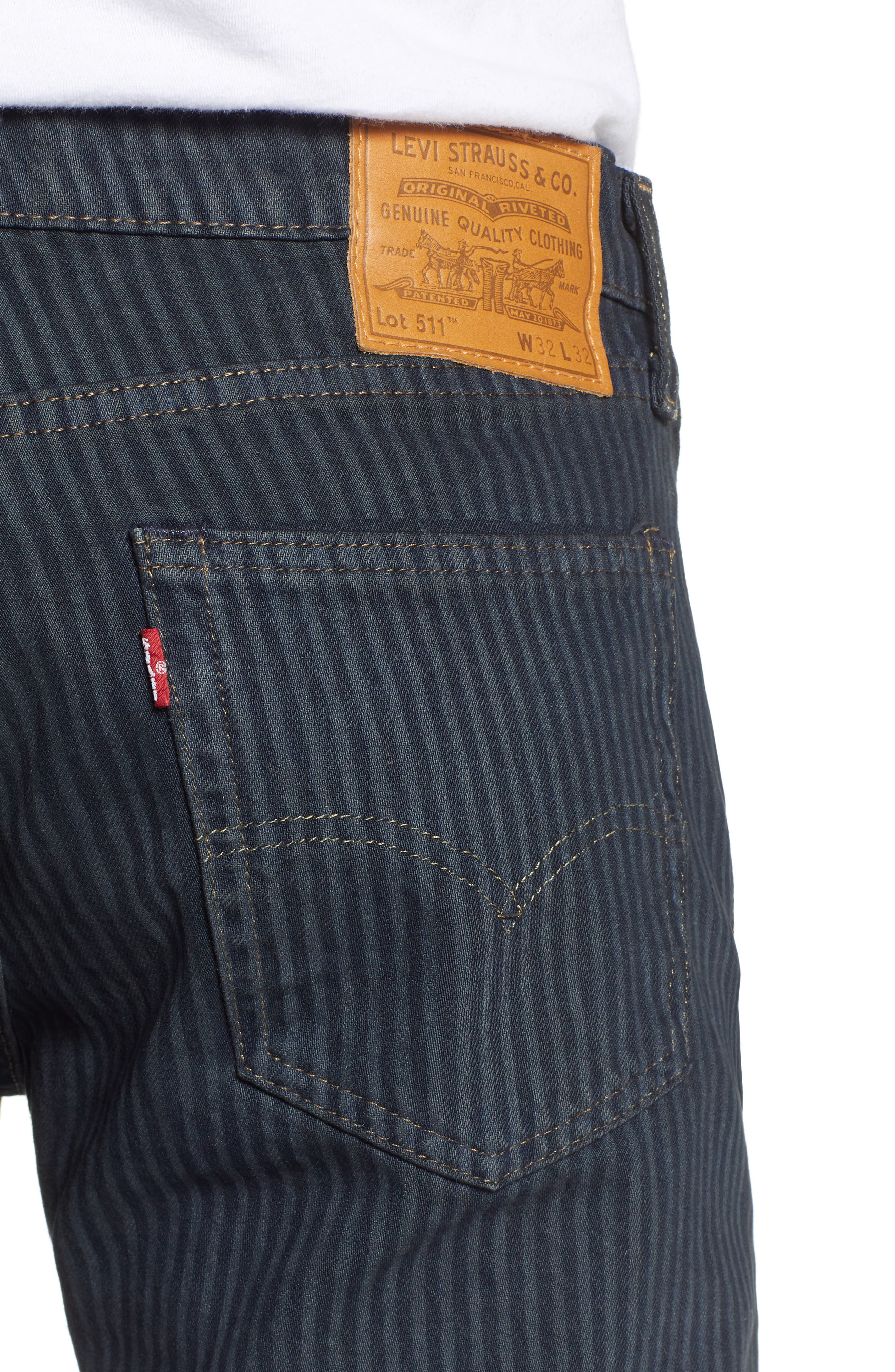 511<sup>™</sup> Stripe Slim Fit Jeans,                             Alternate thumbnail 4, color,                             DARK ONLY