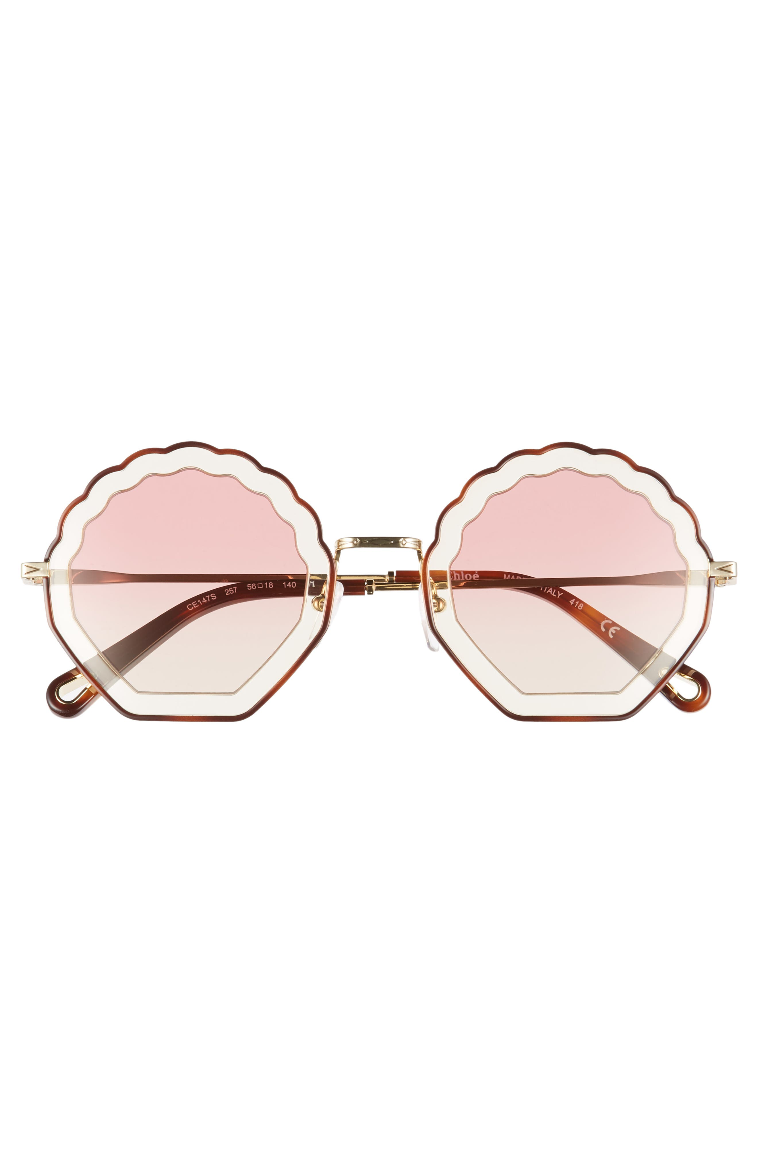 Tally 56mm Scalloped Sunglasses,                             Alternate thumbnail 3, color,                             HAVANA/ SAND/ GRADIENT ROSE