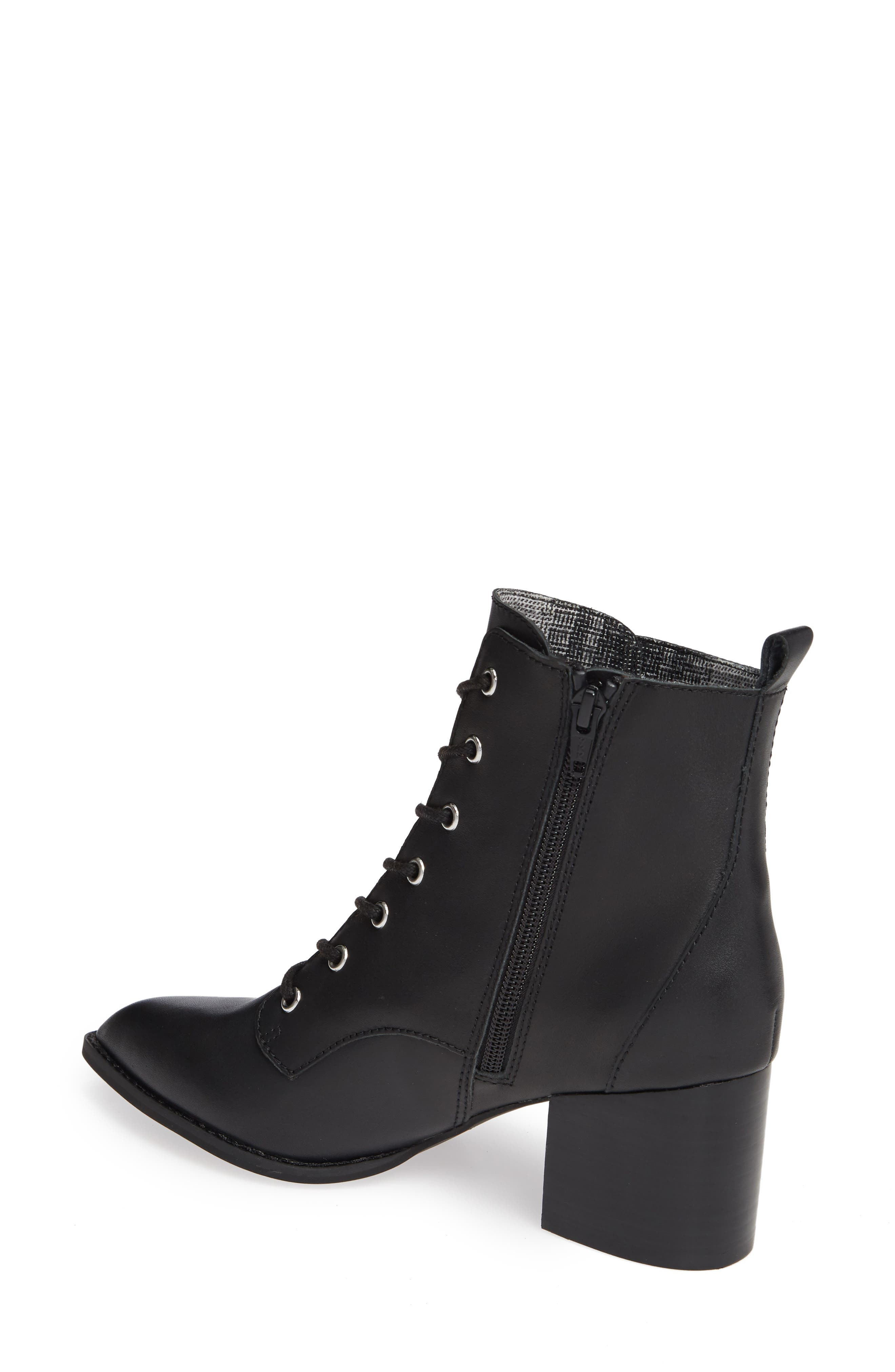 Trench Bootie,                             Alternate thumbnail 2, color,                             BLACK LEATHER