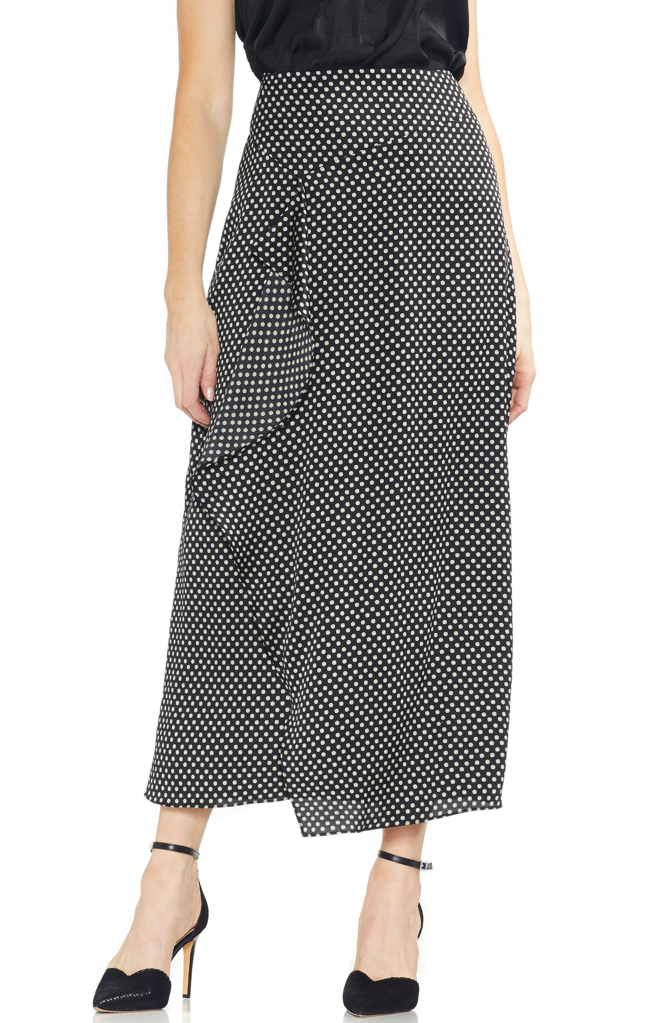 Vince Camuto Asymmetrical Ruffle Trinket Maxi Skirt, Black