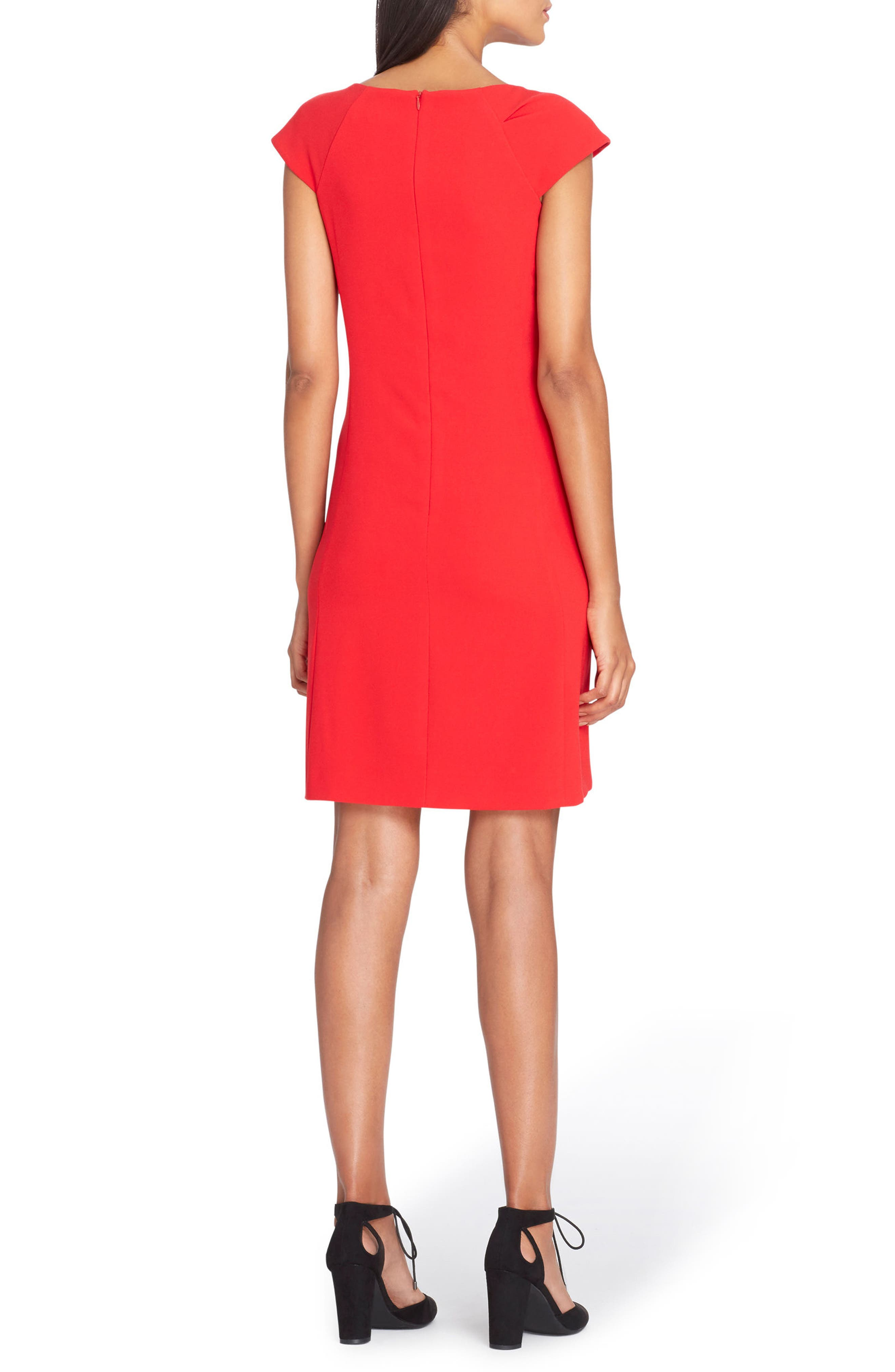 Bow Neck Sheath Dress,                             Alternate thumbnail 4, color,