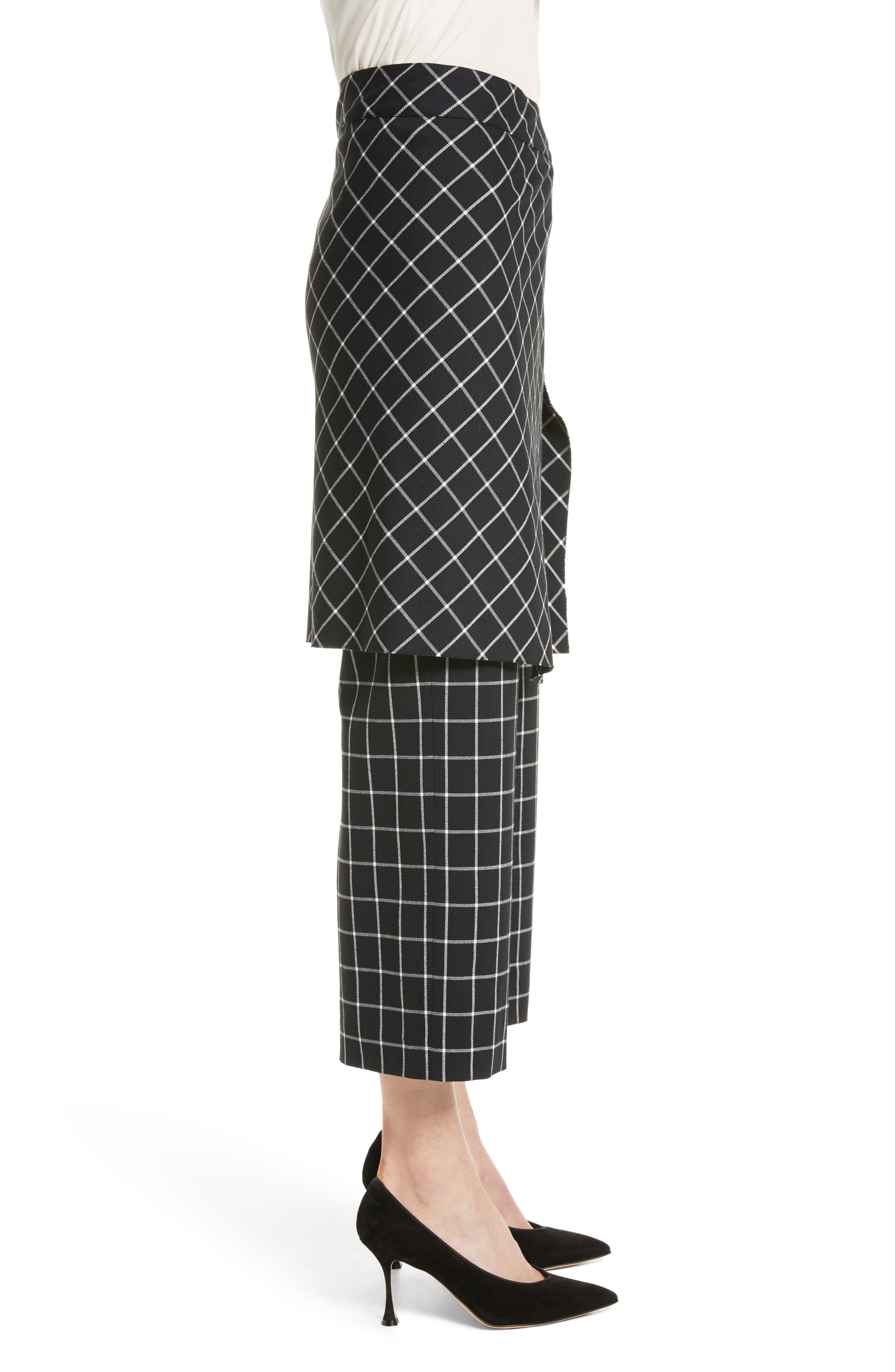 Grid Print Skirted Pants,                             Alternate thumbnail 3, color,                             004