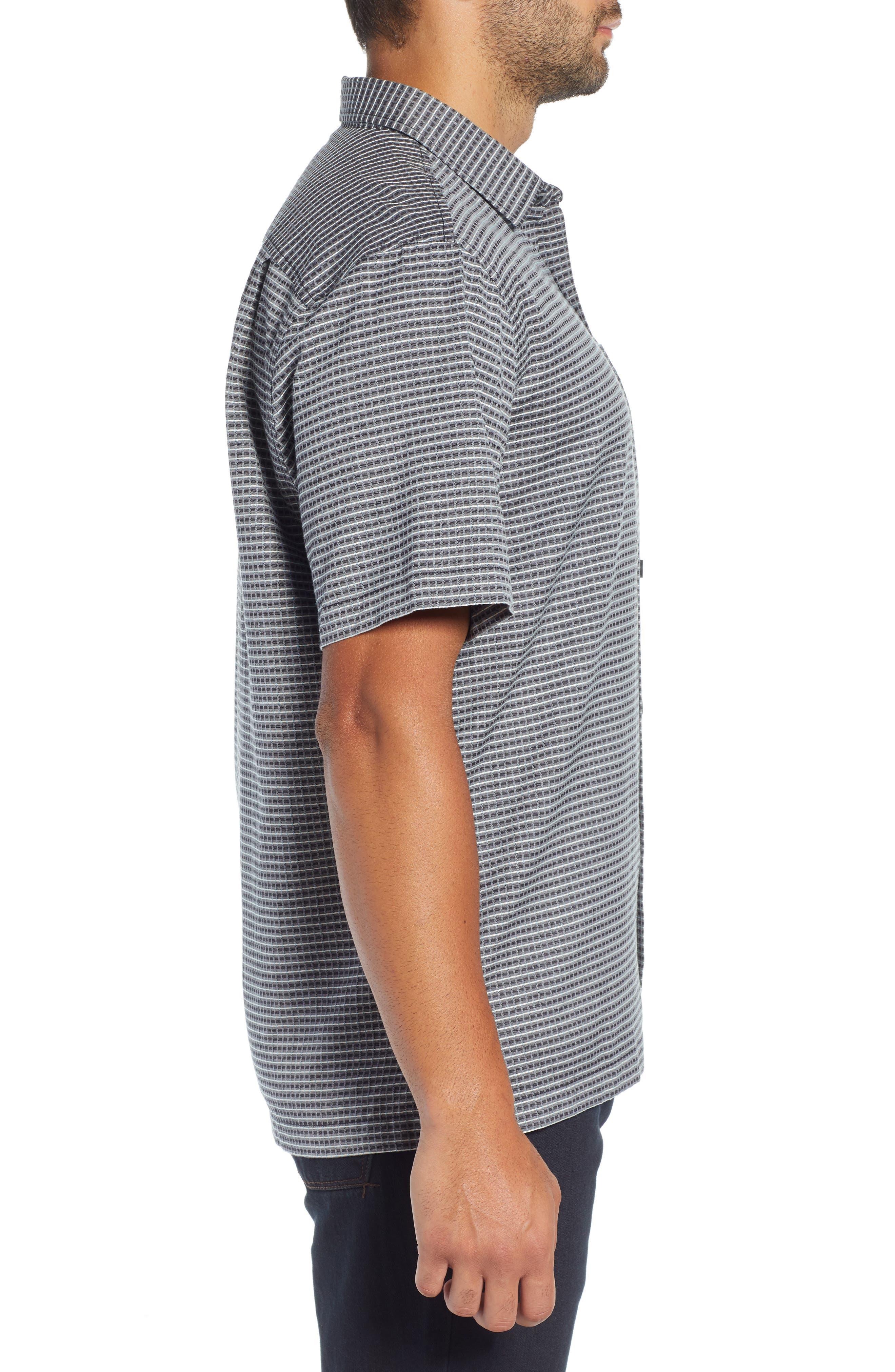 Check-in-the-Tropics Silk Blend Camp Shirt,                             Alternate thumbnail 4, color,                             BLACK